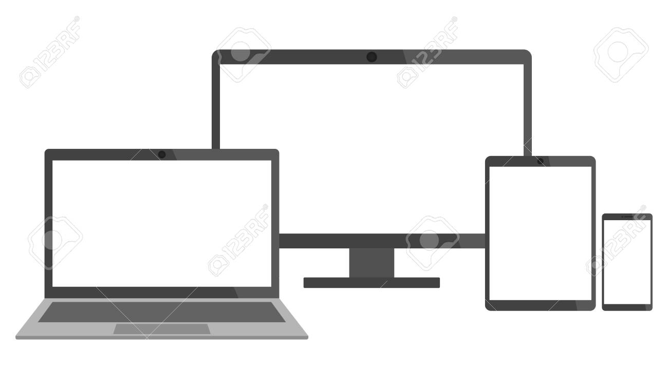 Set of electronic devices - laptop, desktop computer, tablet and smart phone - 138279250