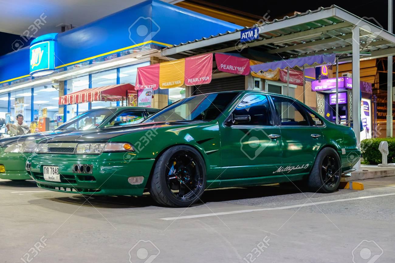Bangkok Thailand July 9 2017 Tuned Honda Car Green Color Stock