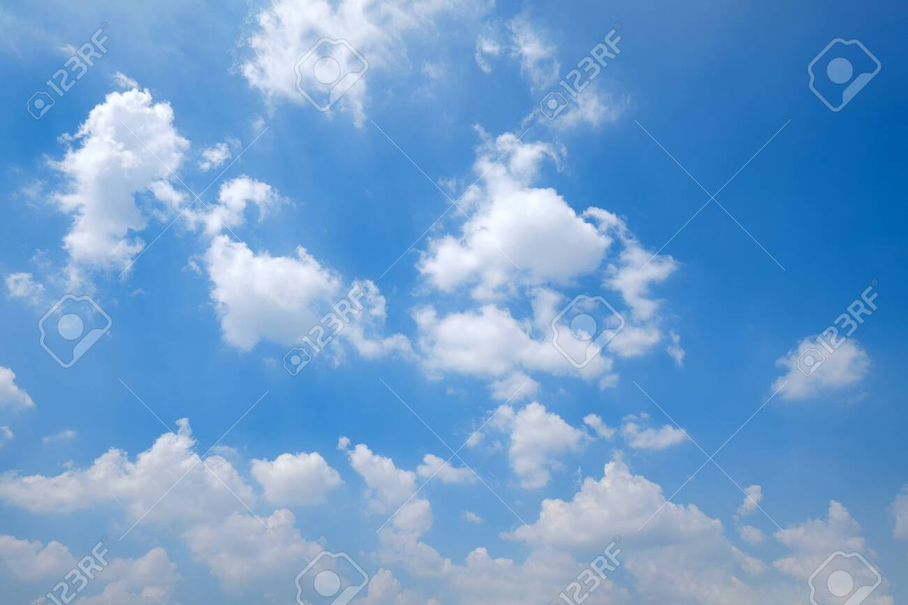 The vast clear blue sky and beautiful clouds on good weather in the morning. Background nature landscape. - 135625147