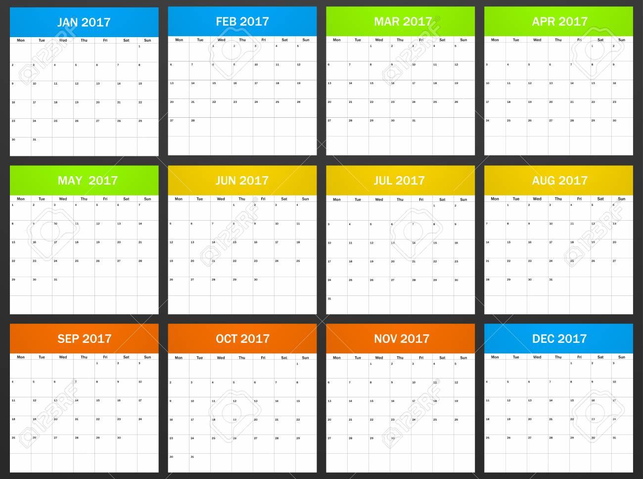 European Planner Leer Für 2017. Scheduler, Tagesordnung Oder ...