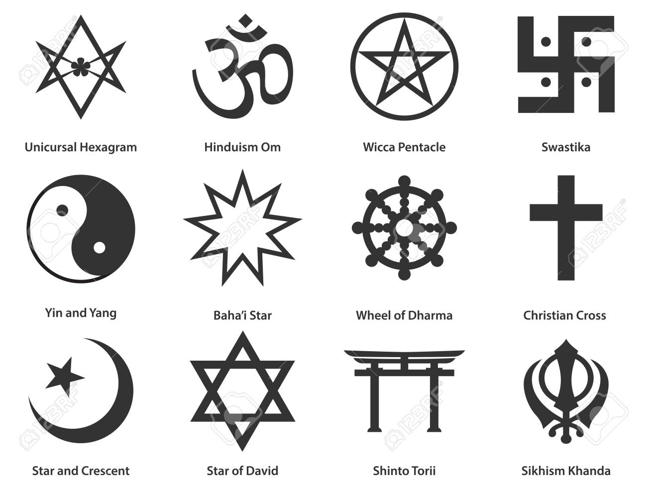 Icon Set Of World Religious Symbols Royalty Free Cliparts, Vectors ...