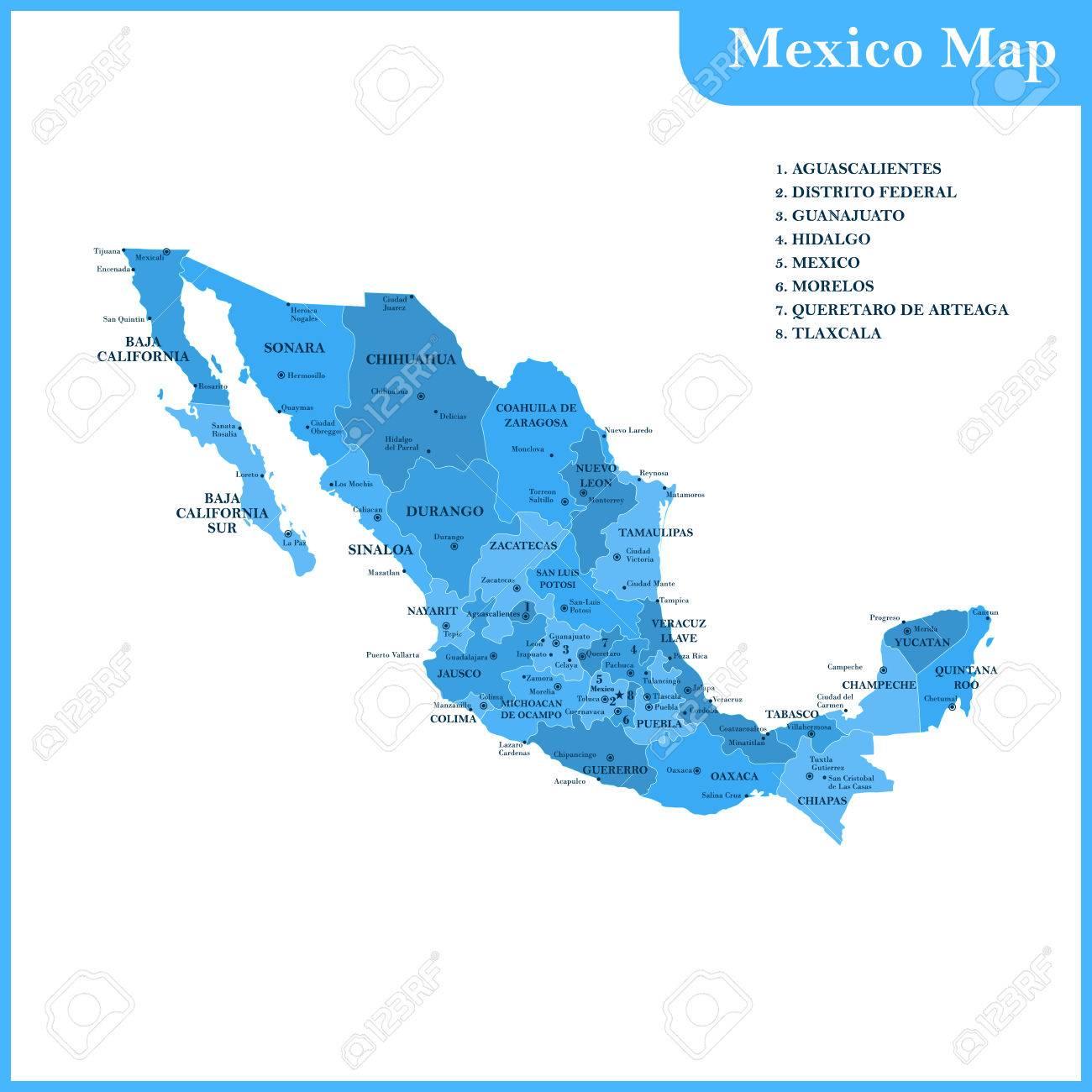 El Mapa Detallado Del Mexico Con Regiones O Estados Y Ciudades