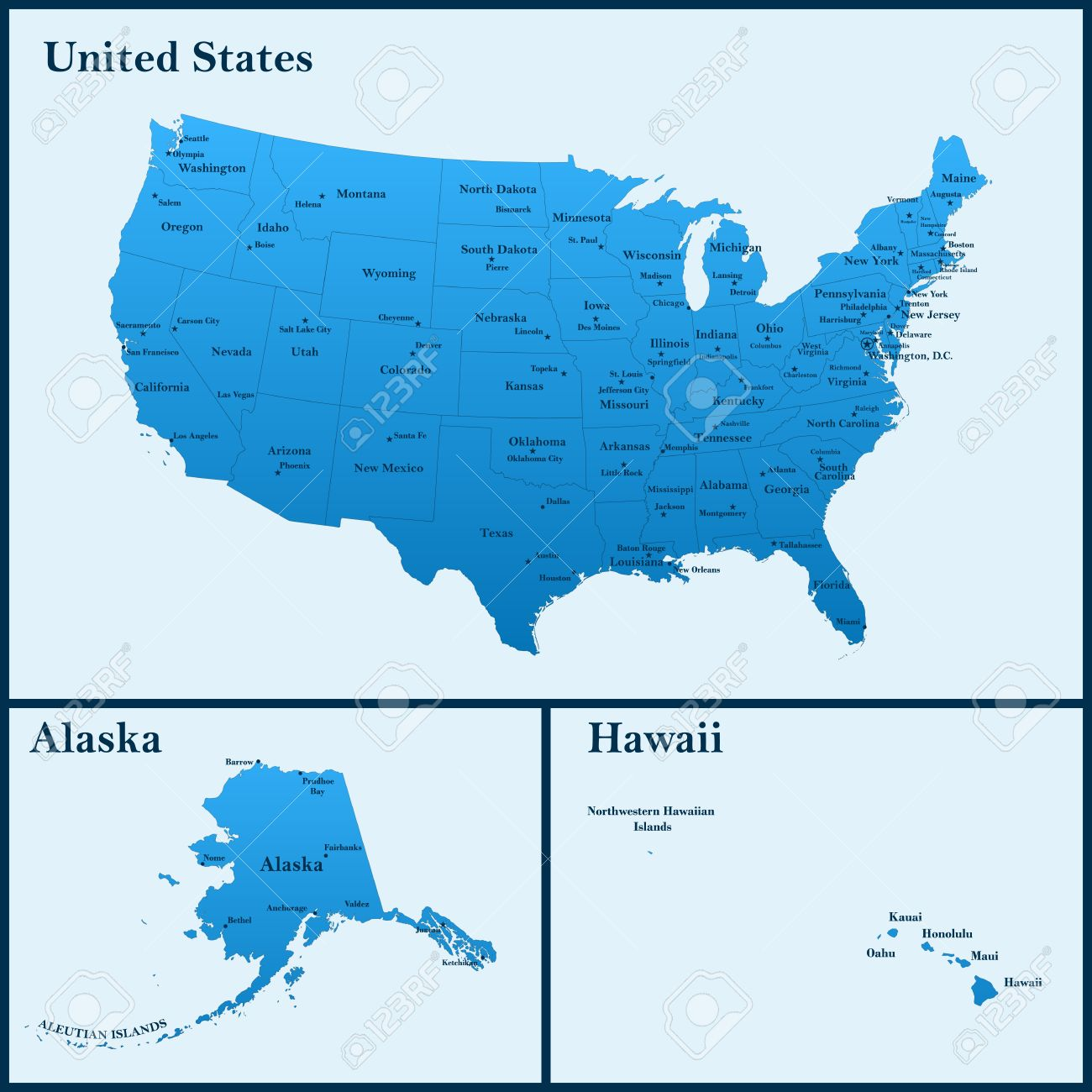 The Detailed Map Of The USA Including Alaska And Hawaii The - Usa map with alaska and hawaii