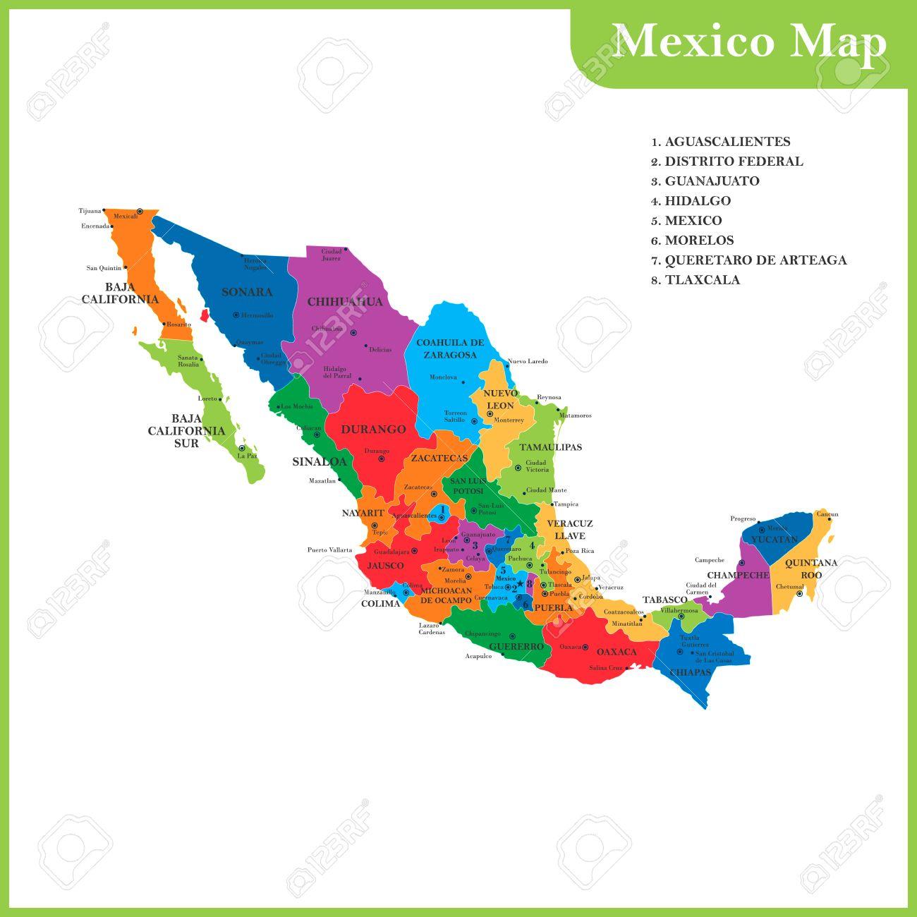 Cartina Dettagliata Messico.Vettoriale La Mappa Dettagliata Del Messico Con Regioni O Stati E Citta Capitali Image 74784660