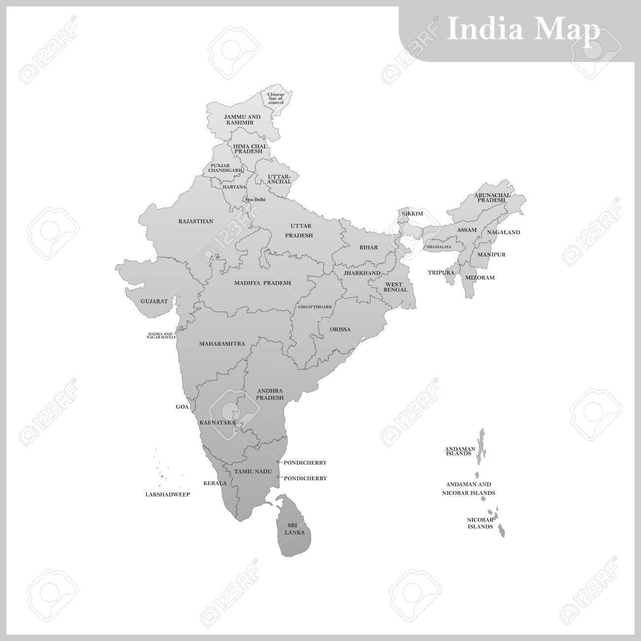 Carte Inde Et Sri Lanka.La Carte Detaillee De L Inde Avec Les Regions Et Le Sri Lanka