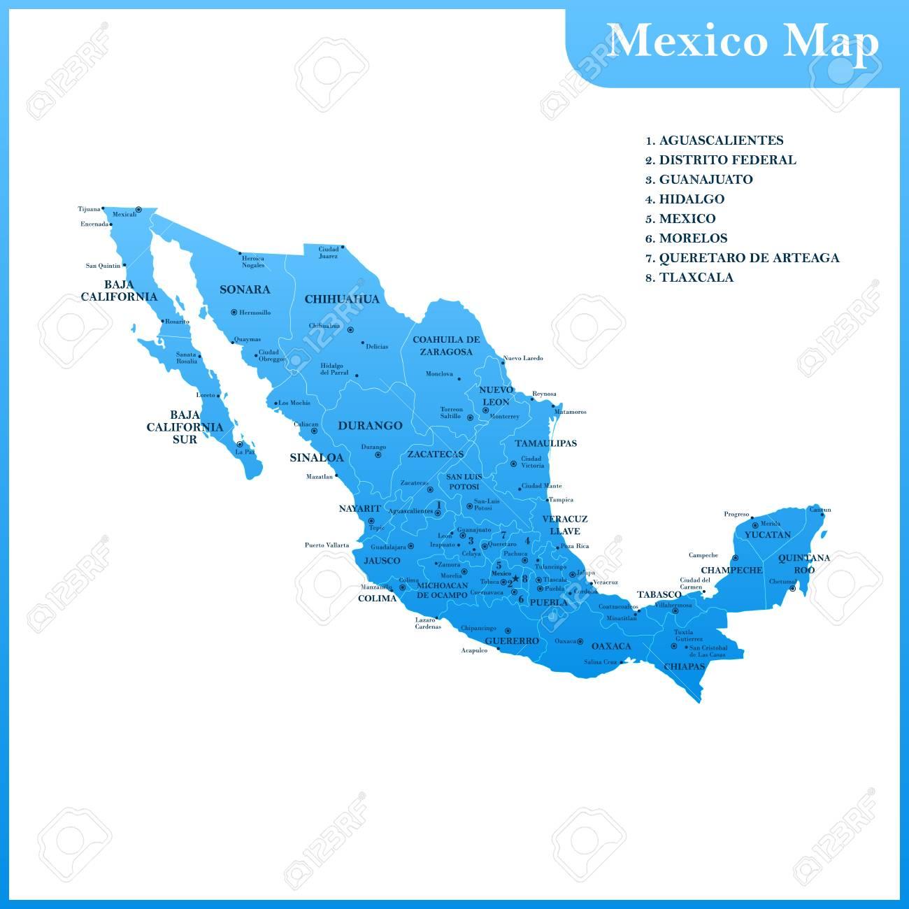 Mexiko Staaten Karte.Stock Photo