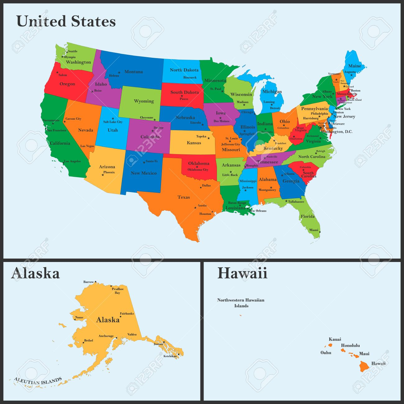 Die Detaillierte Karte Der Usa Einschliesslich Alaska Und Hawaii