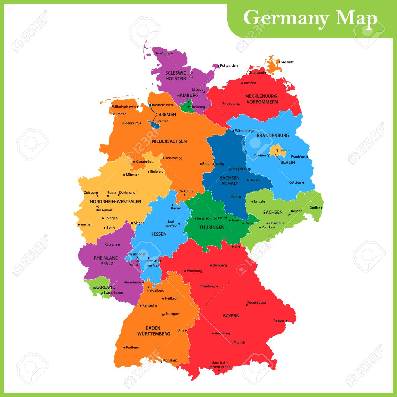 Map Of Germany Regions.The Detailed Map Of The Germany With Regions Or States And Cities