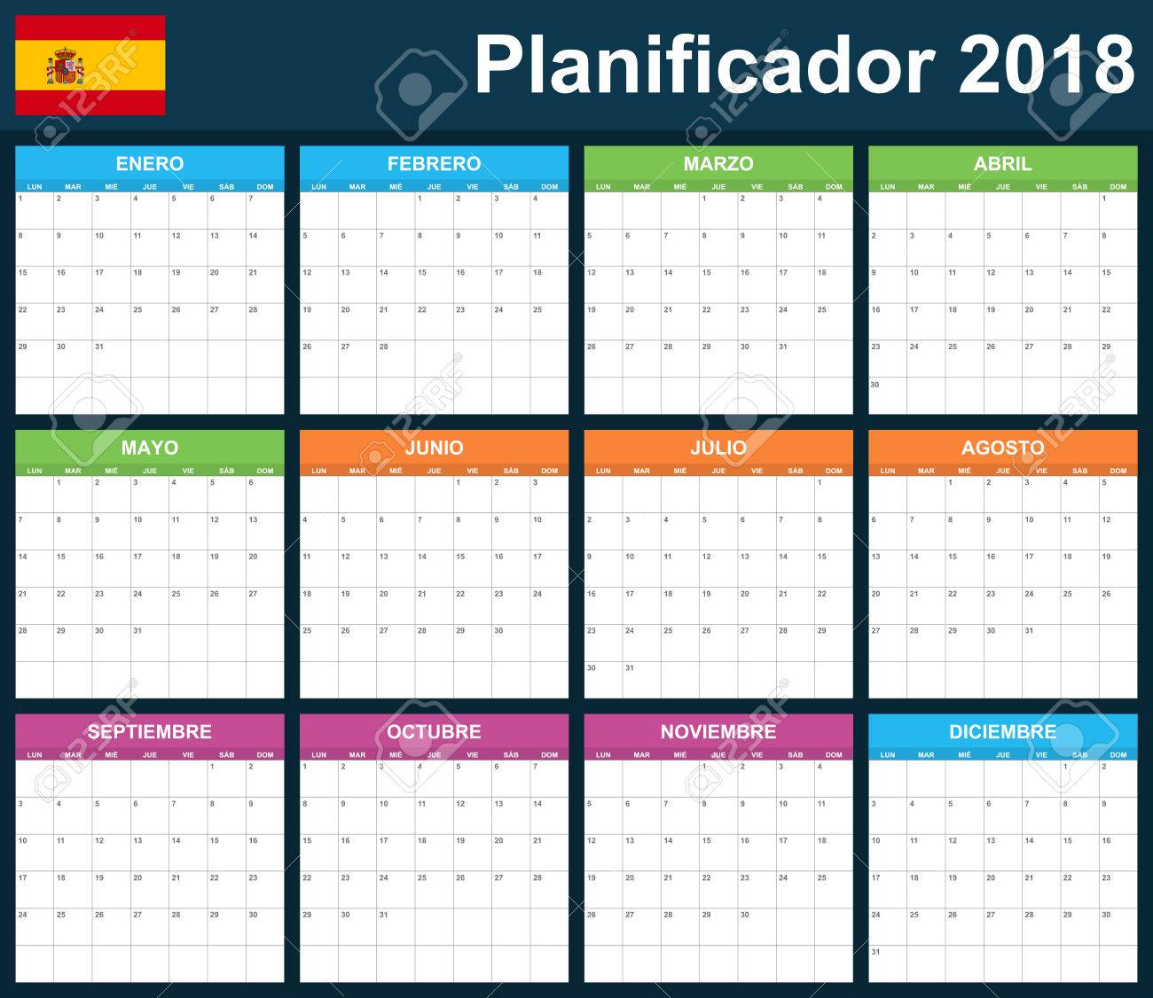 Spanisch Planer Leer Für 2018. Scheduler, Tagesordnung Oder Tagebuch ...