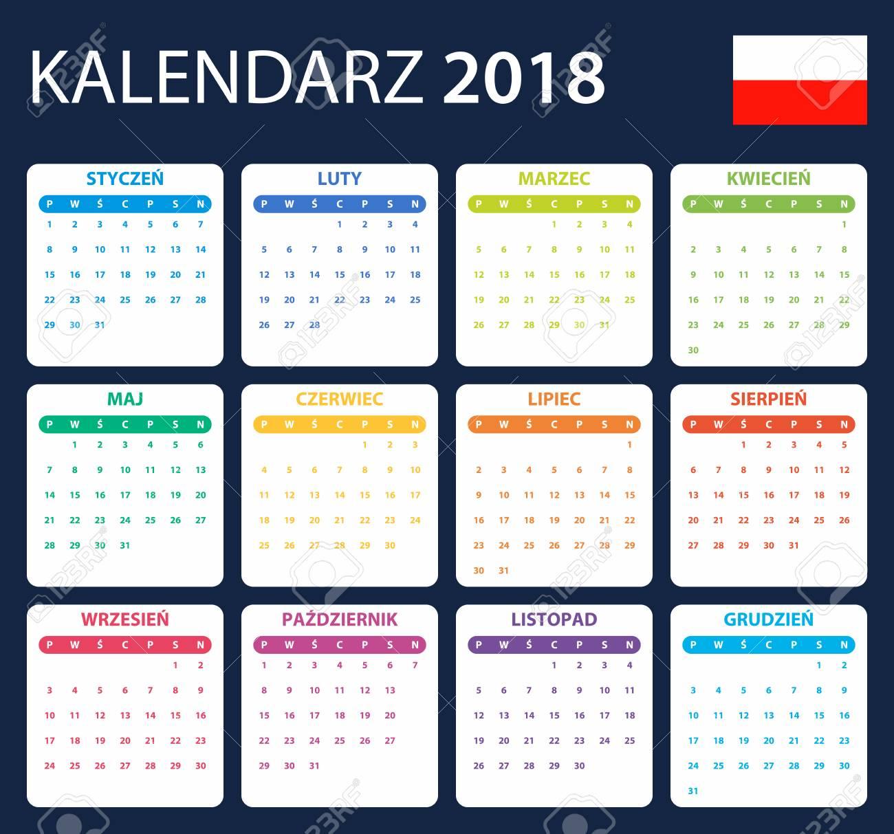 Polnischer Kalender Für 2018. Scheduler, Agenda Oder Tagebuchvorlage ...
