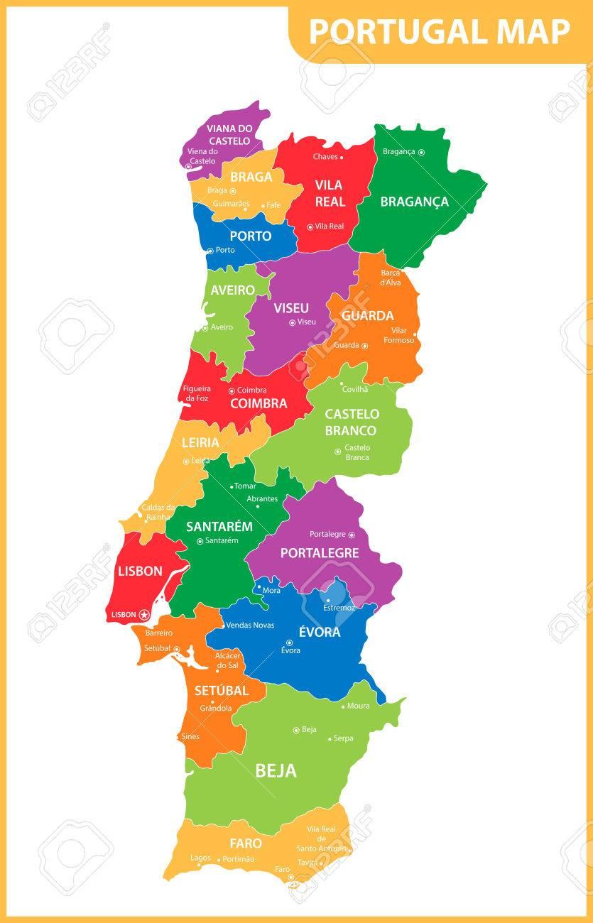 Portogallo Cartina Dettagliata.La Mappa Dettagliata Del Portogallo Con Regioni O Stati E Citta Capitali