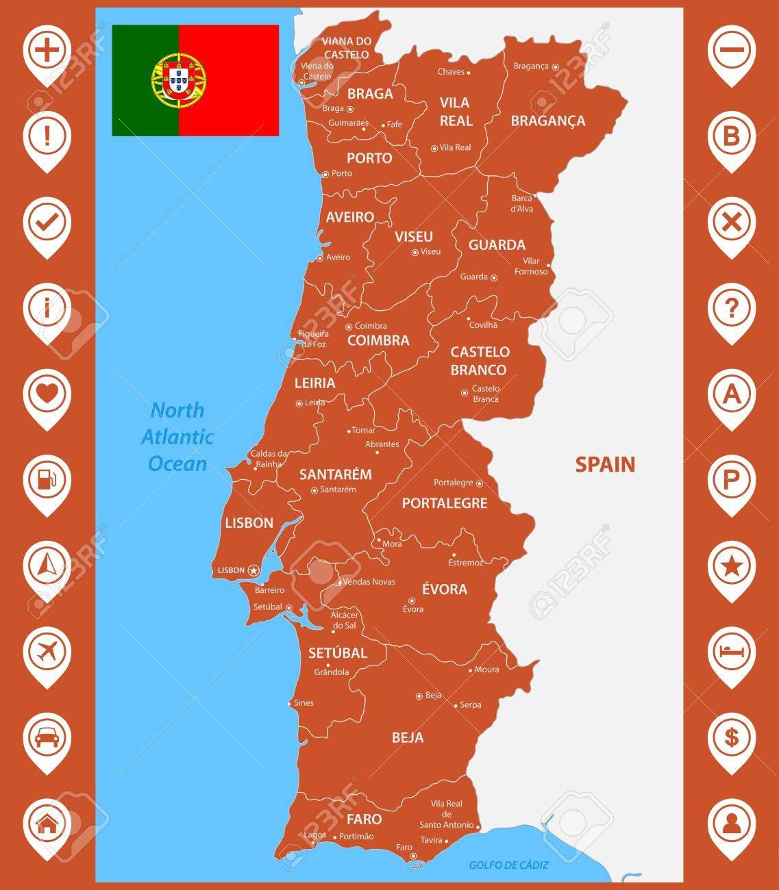 Cartina Dettagliata Del Portogallo.Vettoriale La Mappa Dettagliata Del Portogallo Con Regioni O Stati E Citta Capitali Con Pin O Puntatori Di Mappa Image 84214540