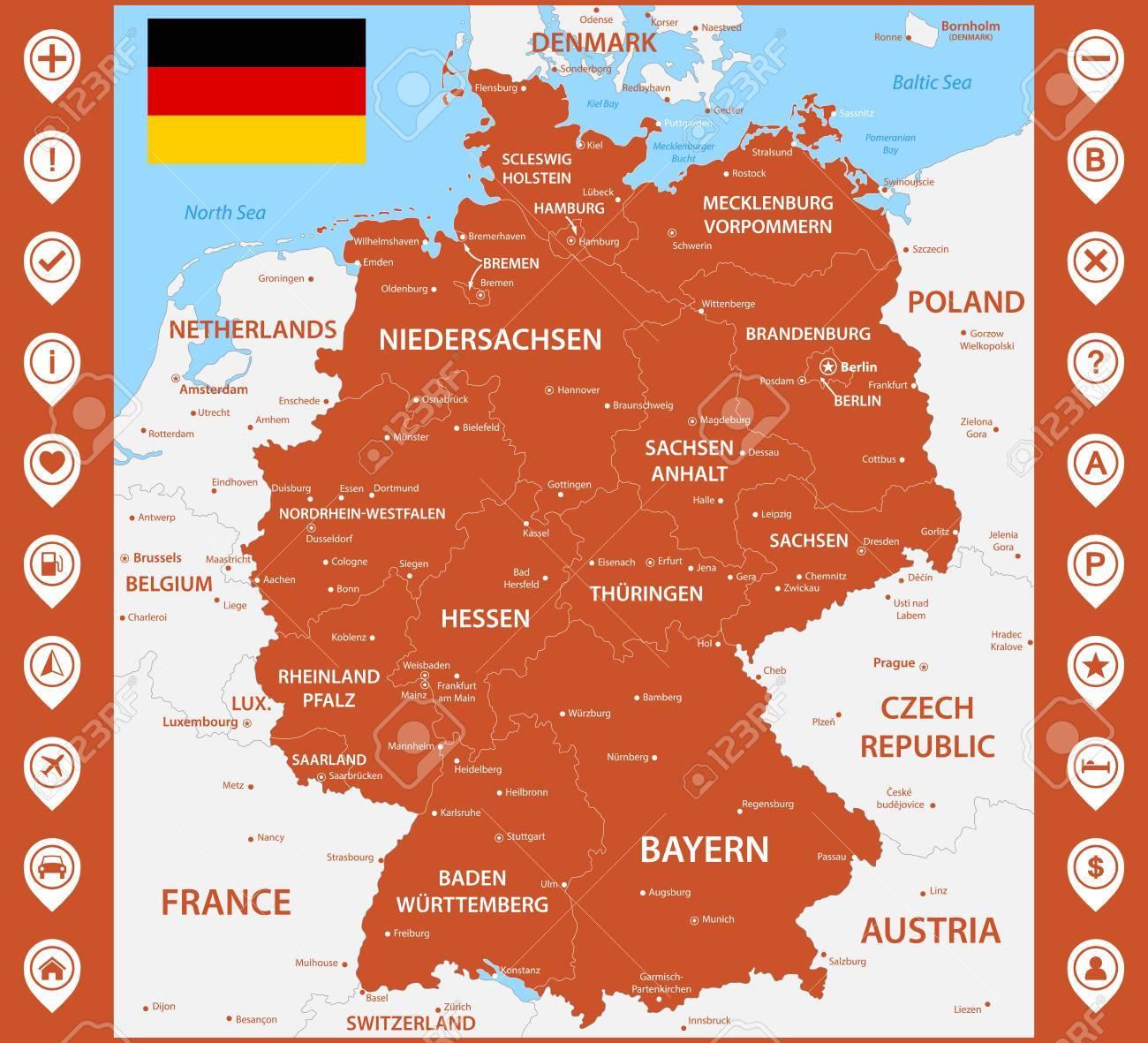 Die Detaillierte Karte Von Deutschland Mit Regionen Oder Staaten