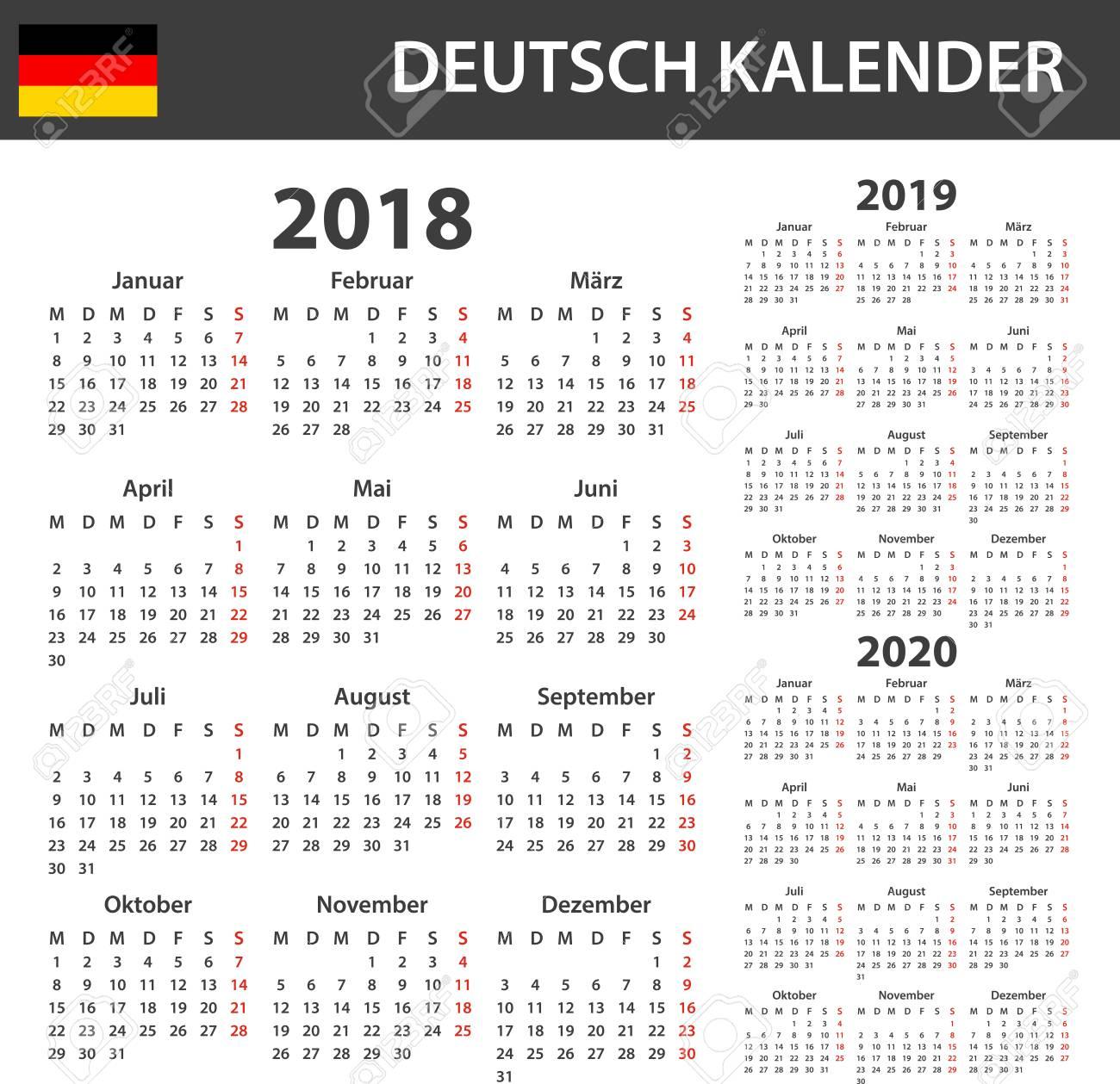 Calendrier Allemand 2020.Calendrier Allemand Pour 2018 2019 Et 2020 Modele D Horaire D Agenda Ou D Agenda La Semaine Commence Le Lundi