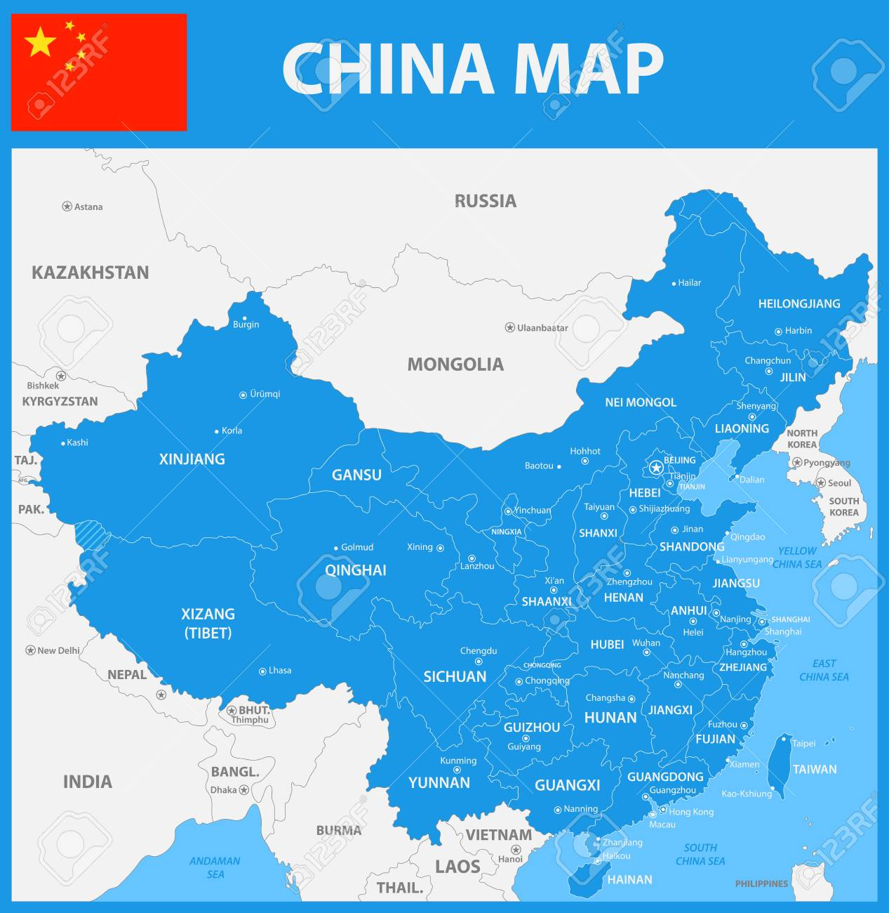Regions Of China Map.The Detailed Map Of China With Regions Or States And Cities