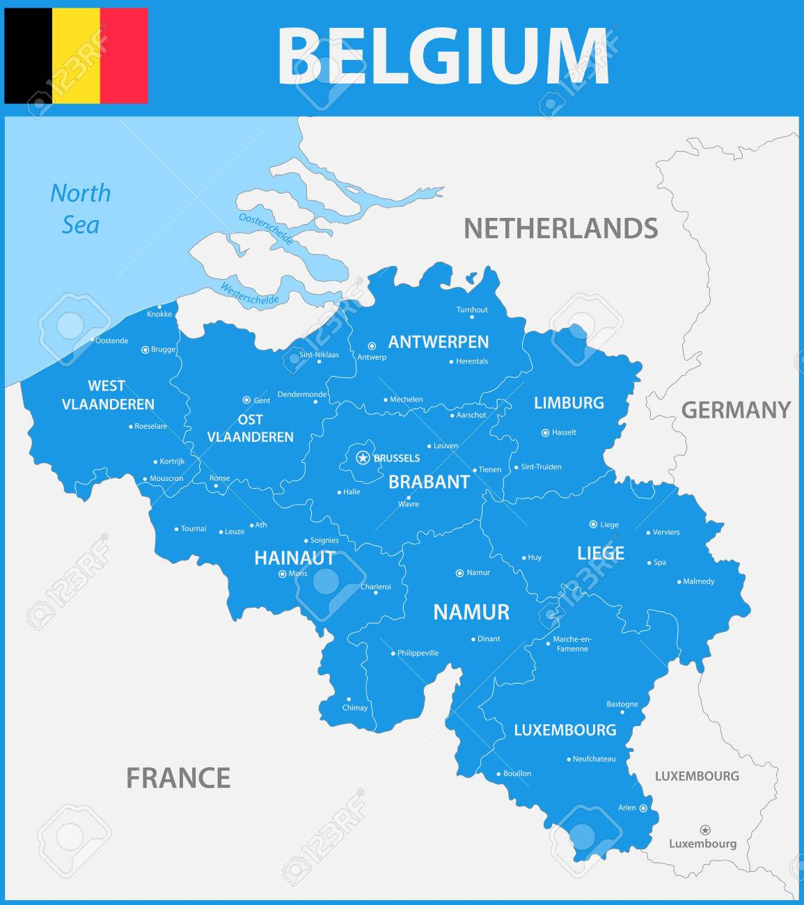the detailed map of the belgium with regions or states and cities capitals stock