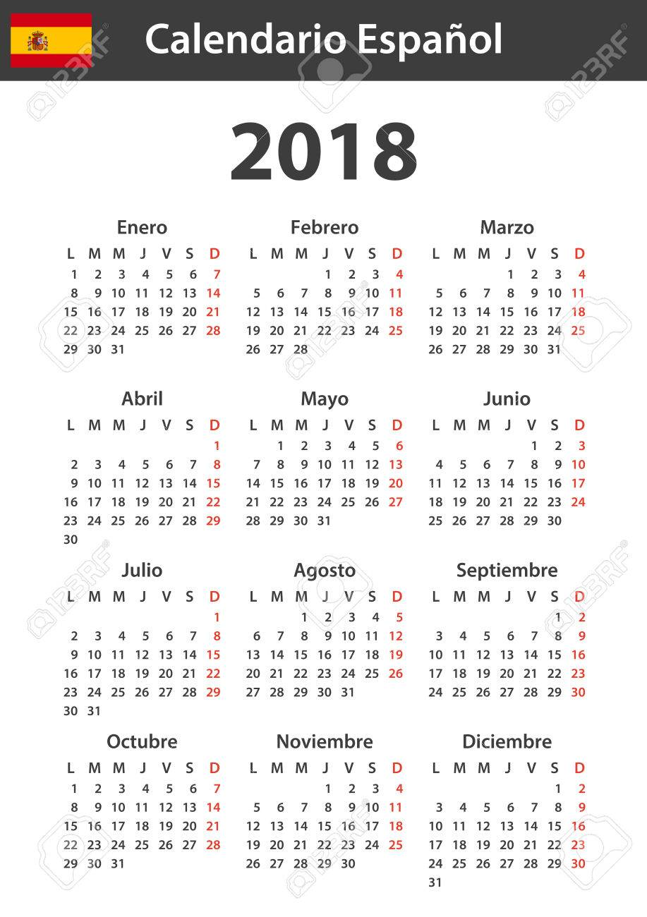Spanish Calendar For 2018. Scheduler, Agenda Or Diary Template ...