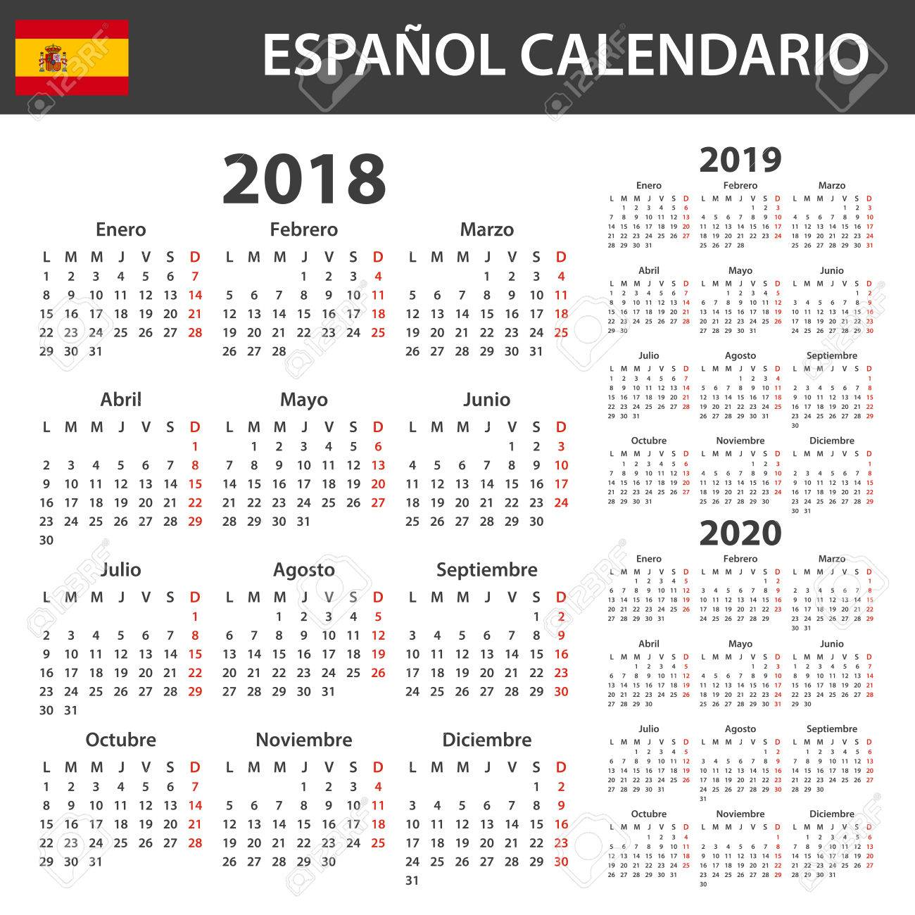 Calendario 2020 Vector Gratis En Espanol.Spanish Calendar For 2018 2019 And 2020 Scheduler Agenda Or