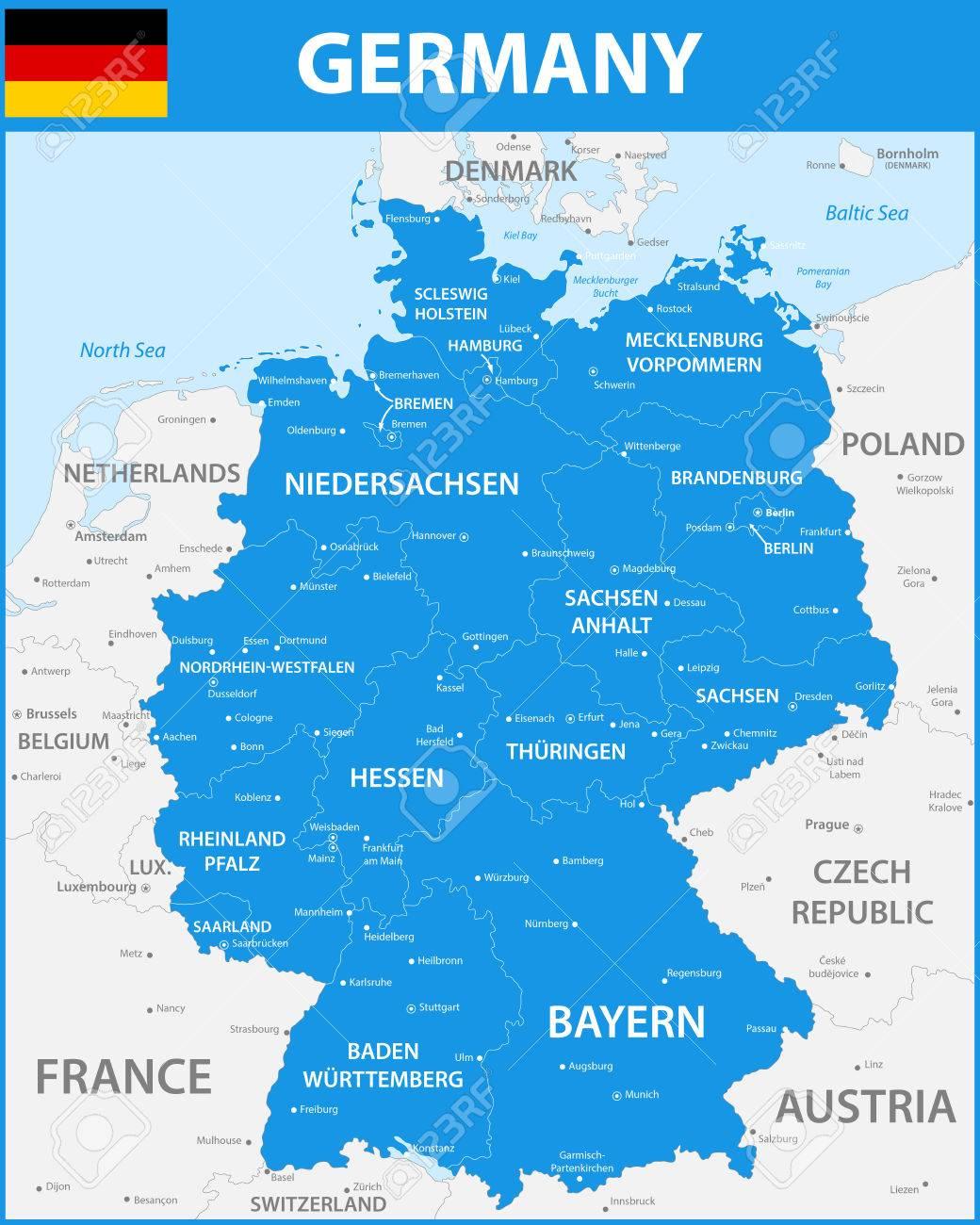 La Carte Detaillee De L Allemagne Avec Les Regions Ou Les Etats Et Les Villes Les Capitales Clip Art Libres De Droits Vecteurs Et Illustration Image 84214724