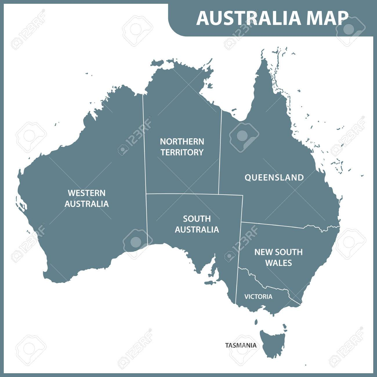 Detailed Map Australia.The Detailed Map Of The Australia With Regions Royalty Free Cliparts