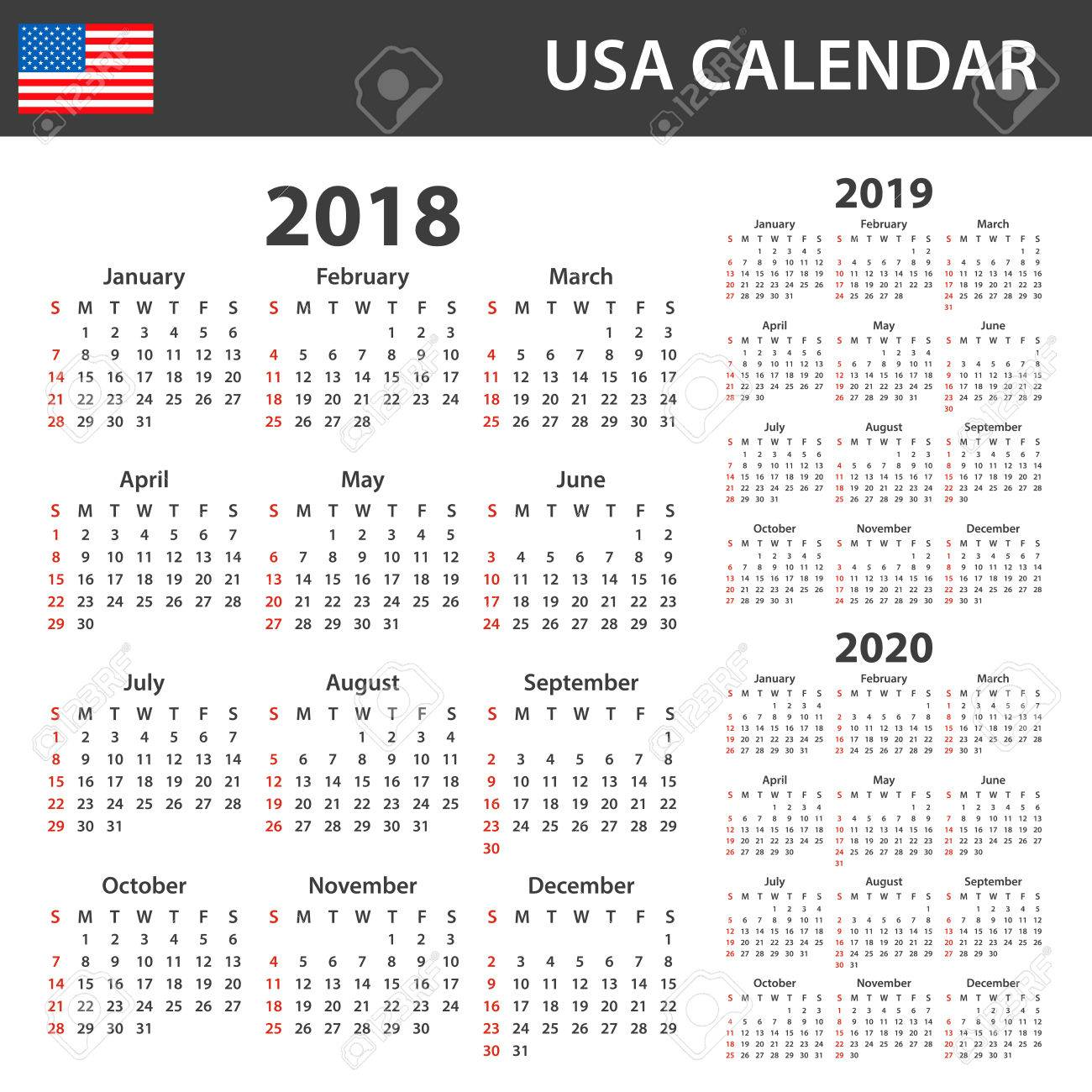 Usa Calendar For 2018 2019 And 2020 Scheduler Agenda Or Diary