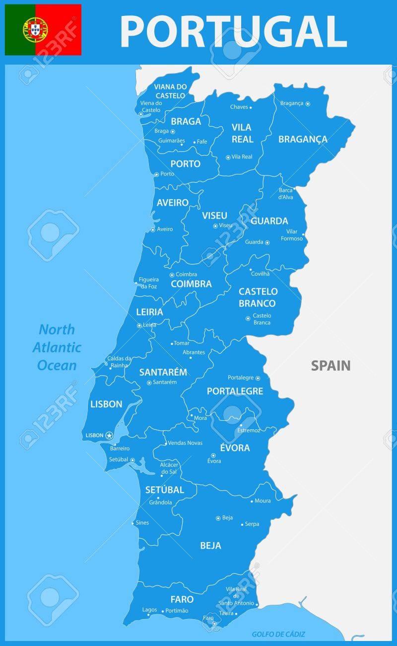 Cartina Dettagliata Del Portogallo.Vettoriale La Mappa Dettagliata Del Portogallo Con Regioni O Stati E Citta Capitali Image 84214869