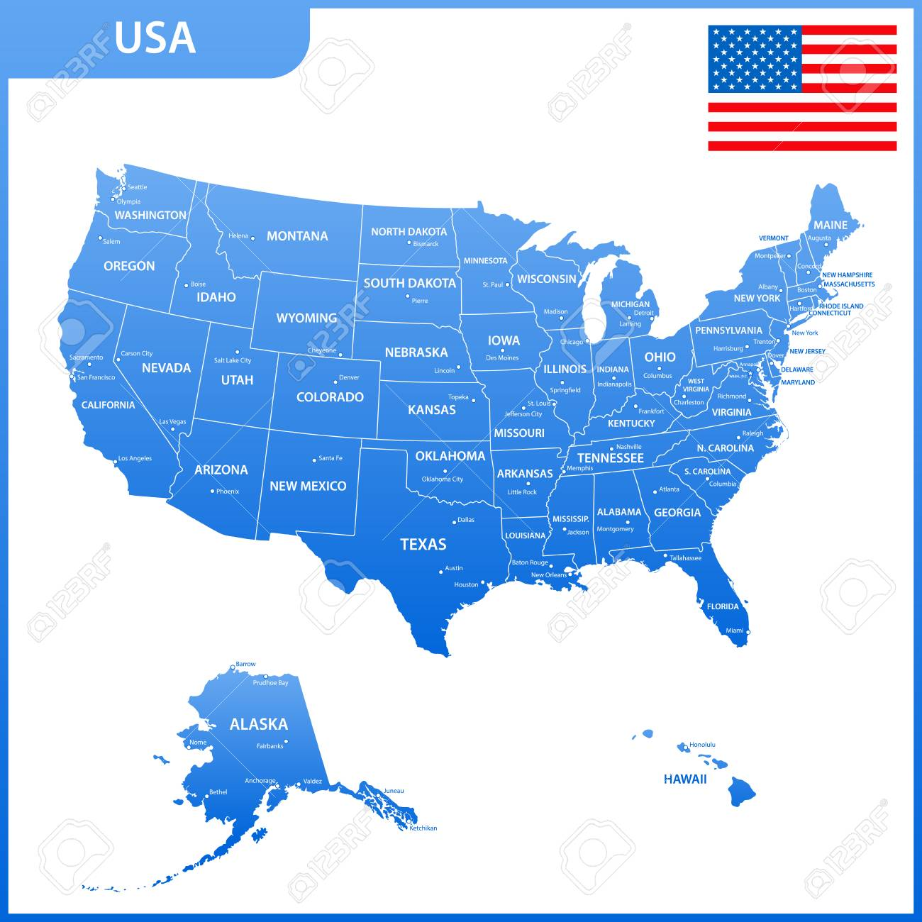 The Detailed Map Of The USA With Regions Or States And Cities ...
