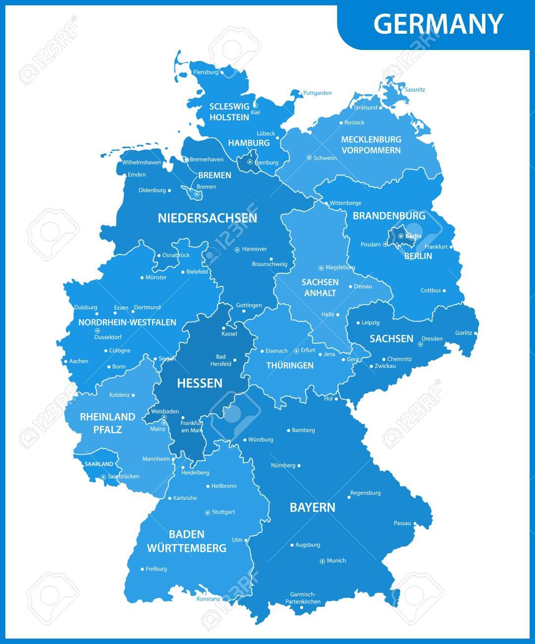 regionen in deutschland karte Die Detaillierte Karte Des Deutschland Mit Regionen Oder Staaten