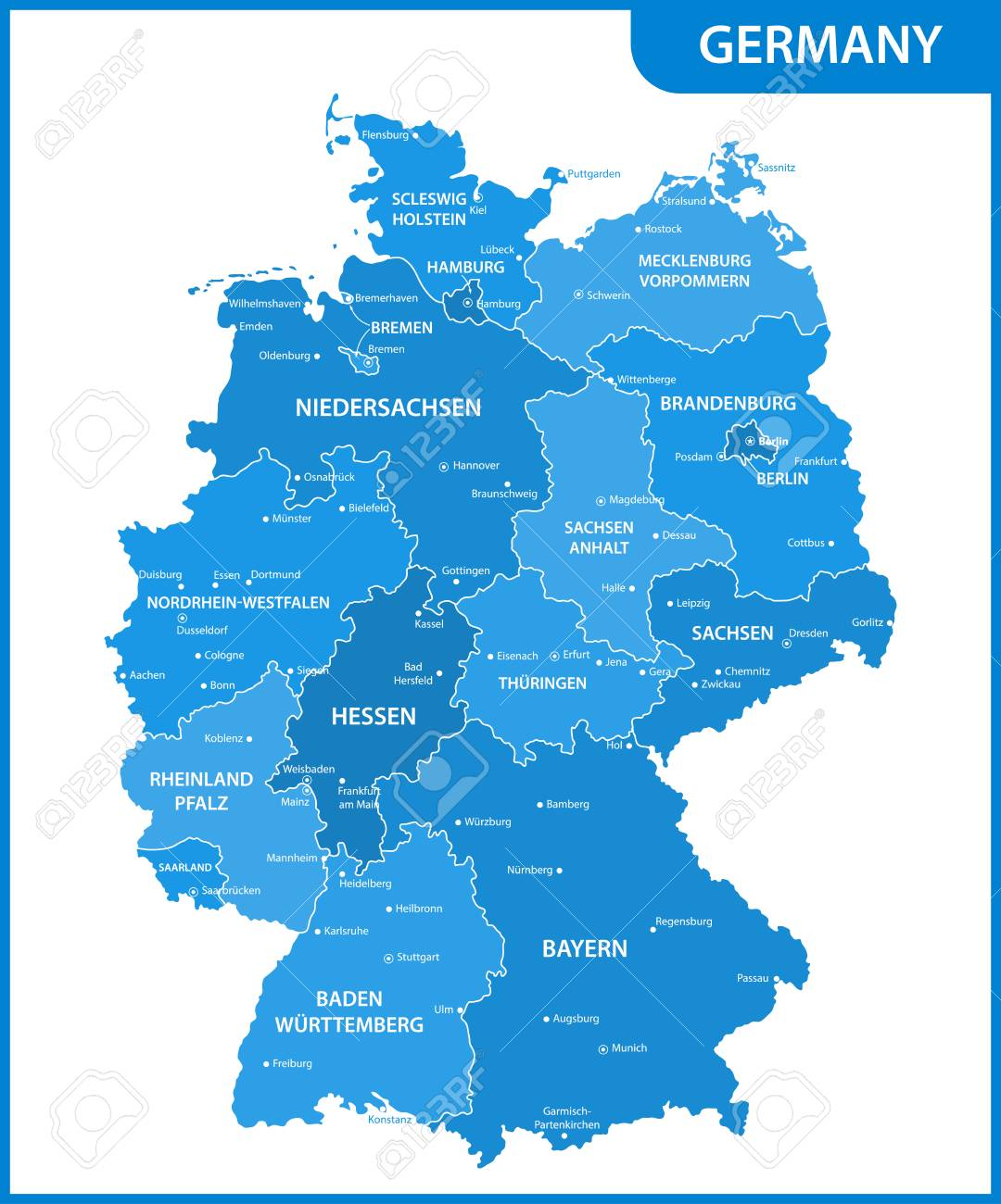 the detailed map of the germany with regions or states and cities capitals stock vector