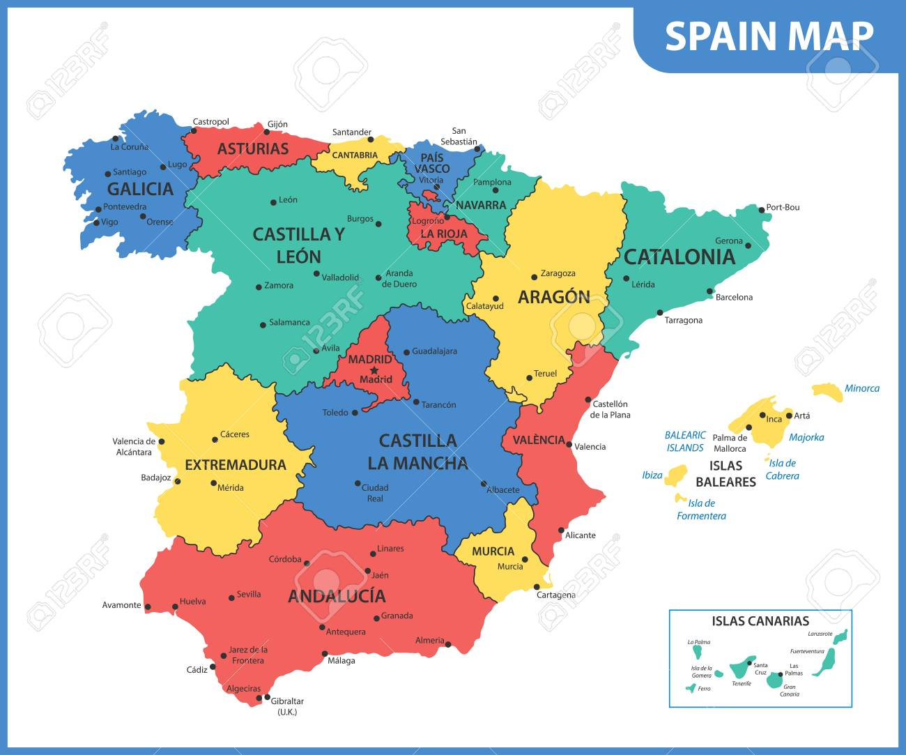 The Detailed Map Of The Spain With Regions Or States And Cities ...
