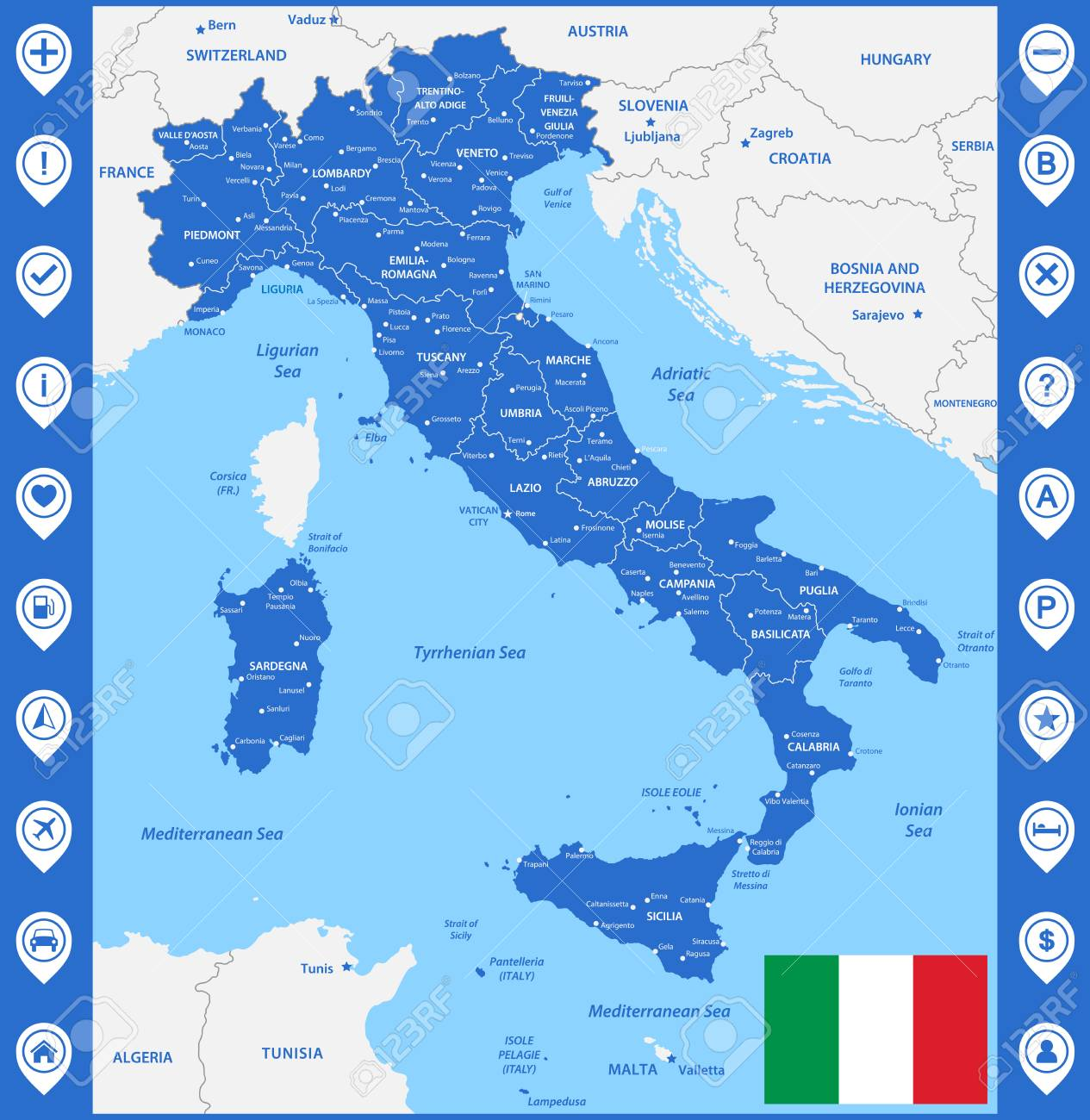 Map Of Italy And Austria With Cities.The Detailed Map Of The Italy With Regions Or States And Cities