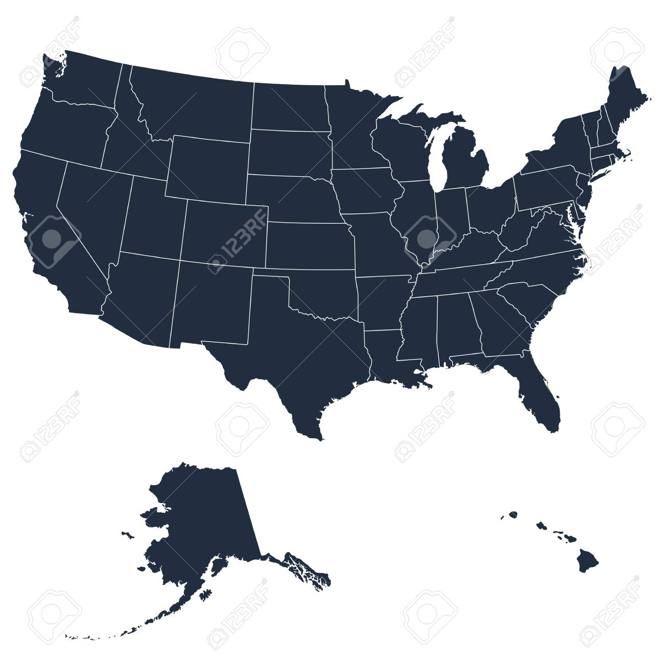 The detailed map of the USA including Alaska and Hawaii. The..