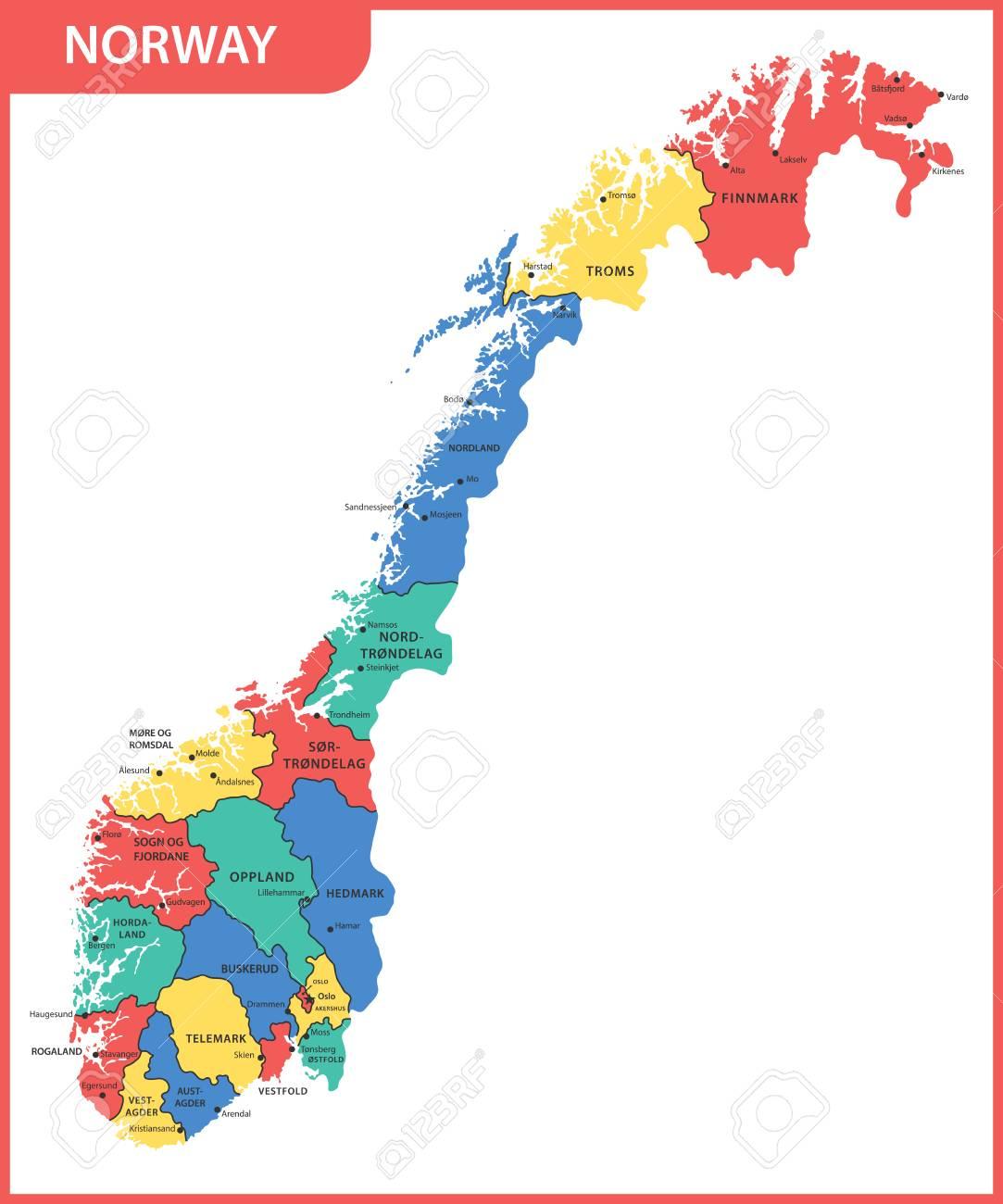 norwegen karte regionen Die Detaillierte Karte Von Norwegen Mit Regionen Oder Staaten Und  norwegen karte regionen