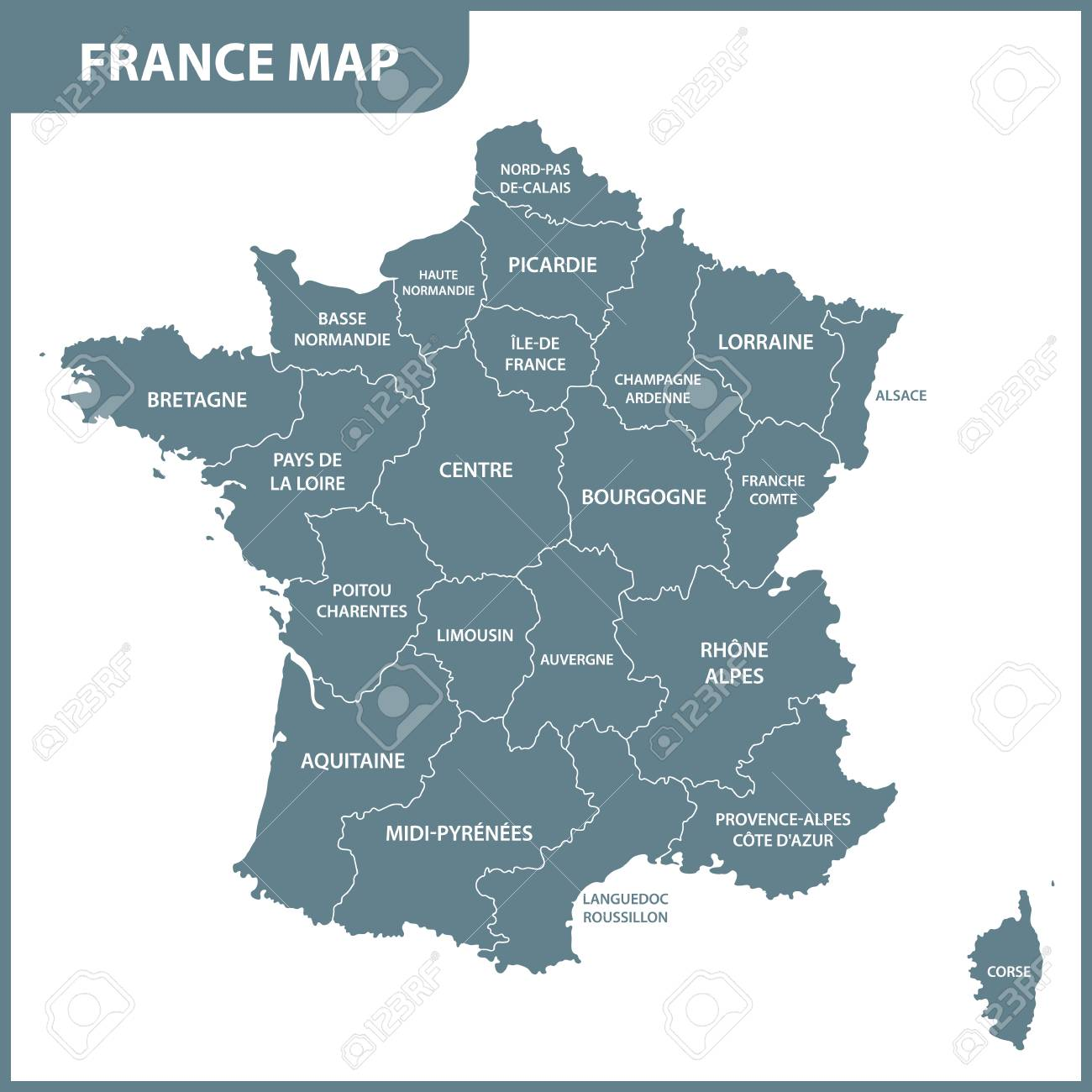 Régions carte détaillée