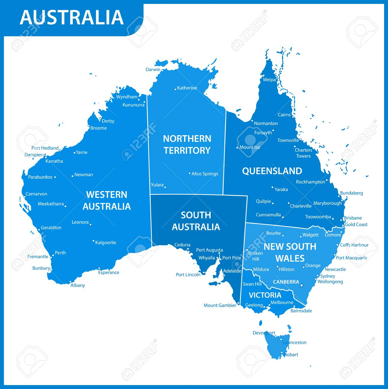 Australia Map States And Cities.The Detailed Map Of The Australia With Regions Or States And