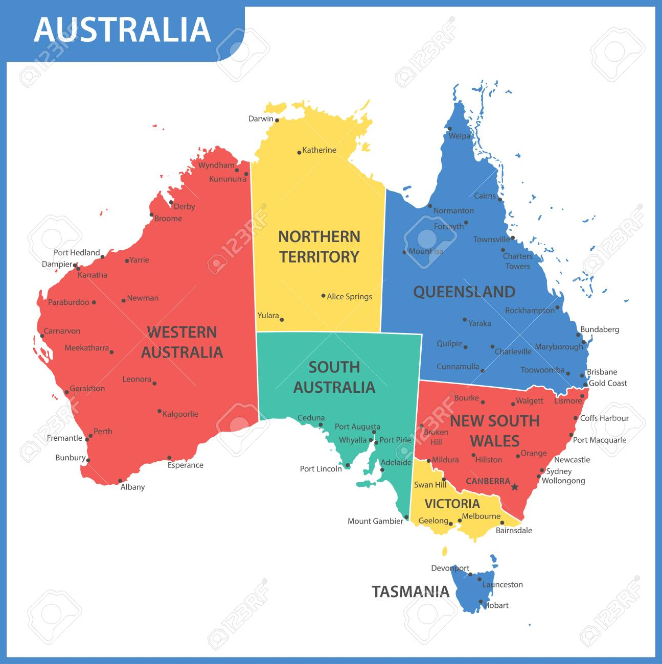 Map Of Australia With States And Capitals.The Detailed Map Of The Australia With Regions Or States And