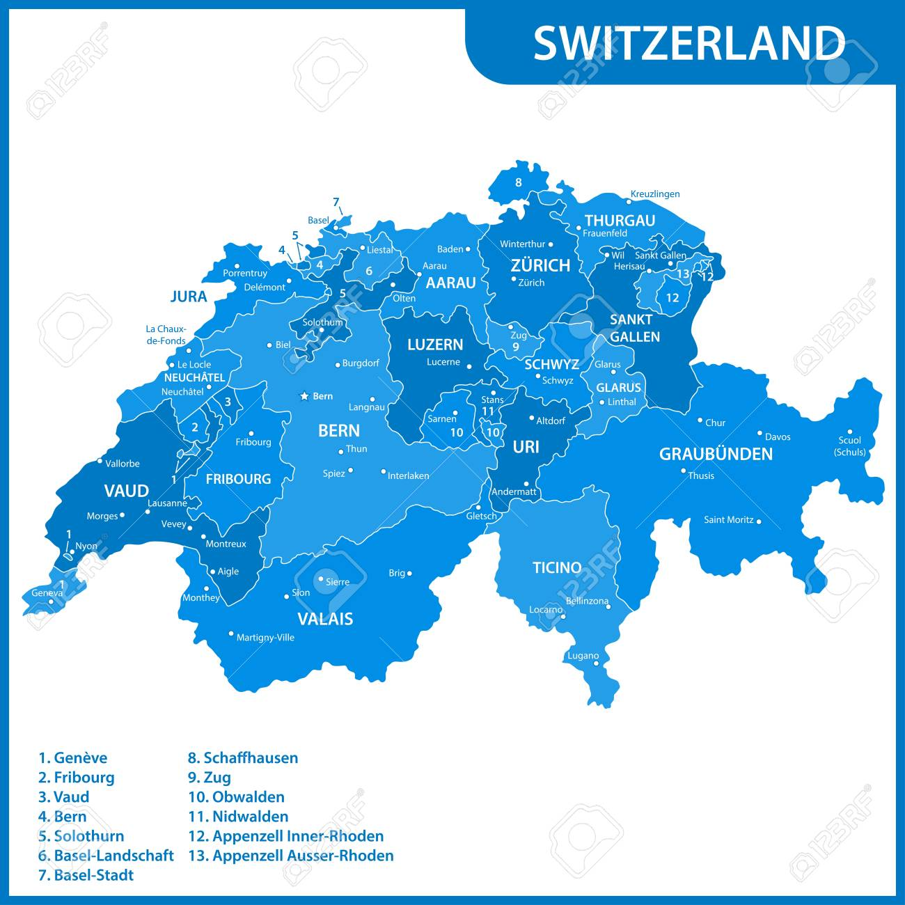 Picture of: The Detailed Map Of The Switzerland With Regions Or States And Royalty Free Cliparts Vectors And Stock Illustration Image 91118056