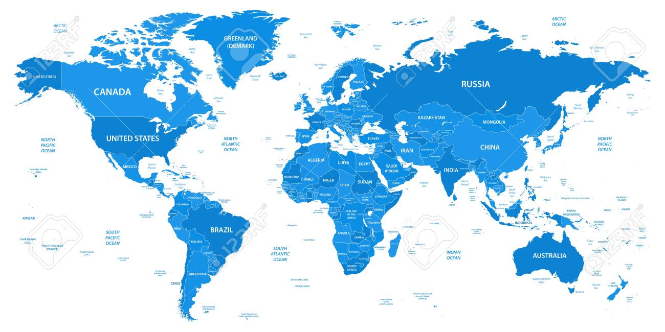 Detailed World Map With Borders Countries Water Objects Royalty