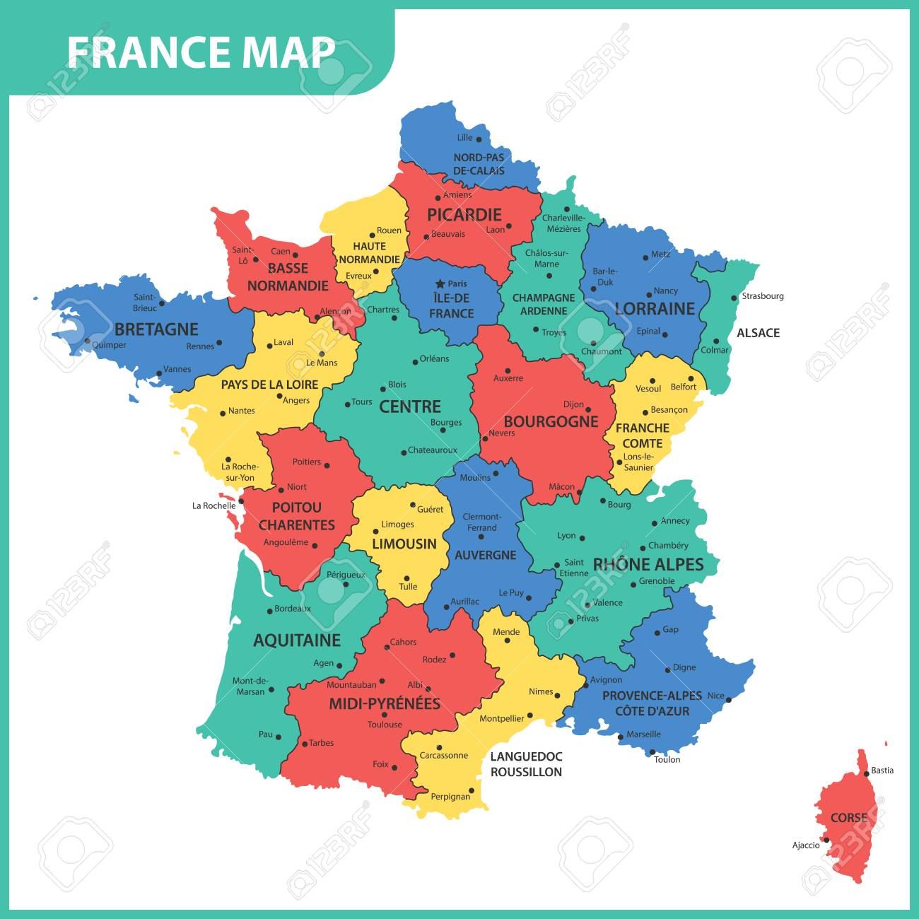 Map Of France Regions With Cities.The Detailed Map Of The France With Regions Or States And Cities