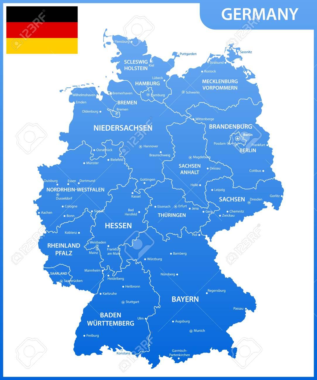 Regioni Germania Cartina.Vettoriale La Mappa Dettagliata Della Germania Con Regioni O Stati E Citta Capitali Bandiera Nazionale Image 91118493