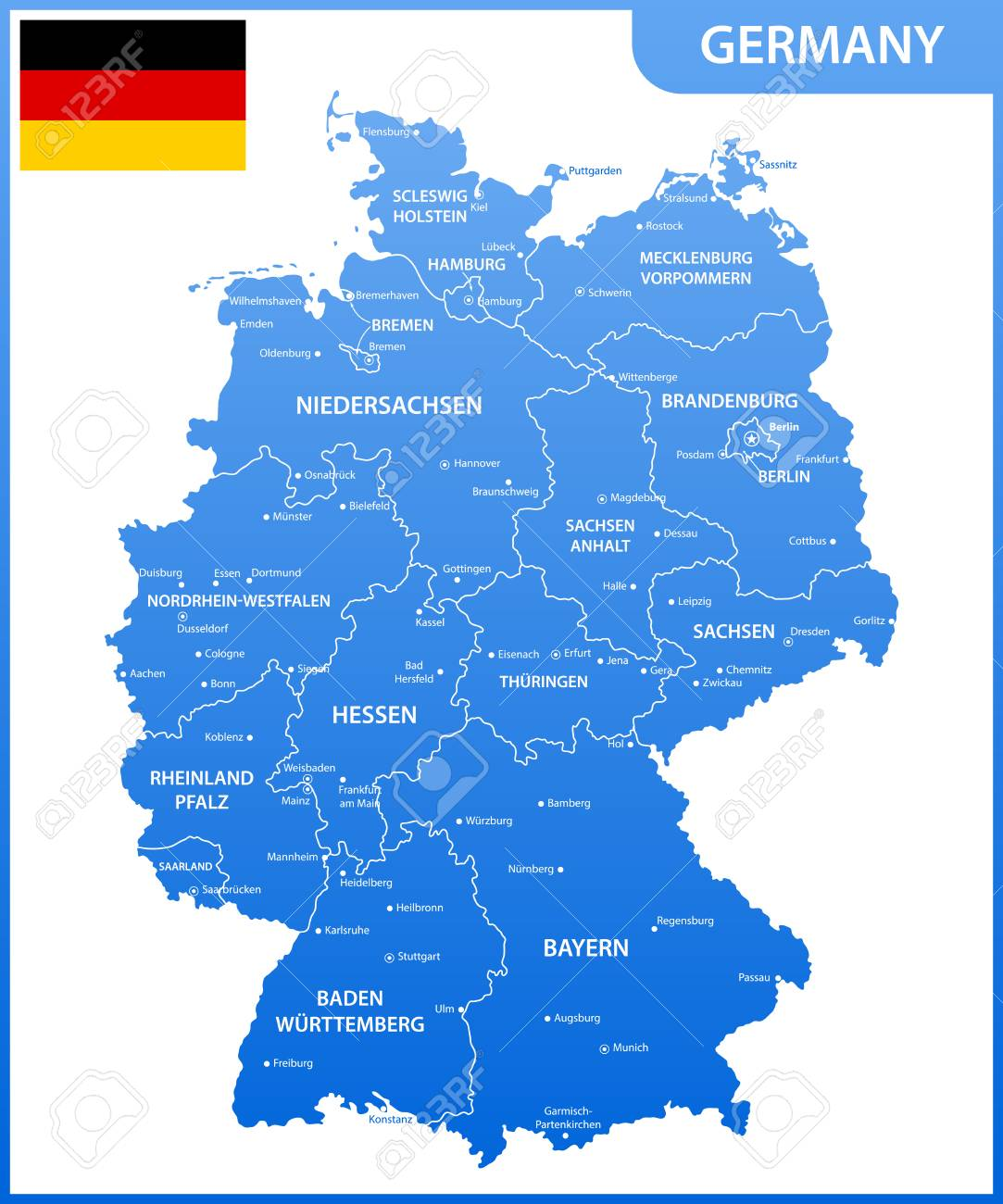 Map Of Germany Showing Cities.The Detailed Map Of The Germany With Regions Or States And Cities