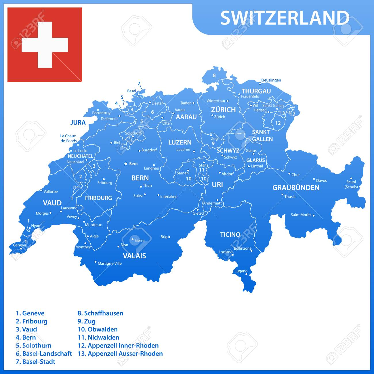 Dettagliata Cartina Della Svizzera.Vettoriale La Mappa Dettagliata Della Svizzera Con Regioni O Stati E Citta Capitali Bandiera Nazionale Image 91118768