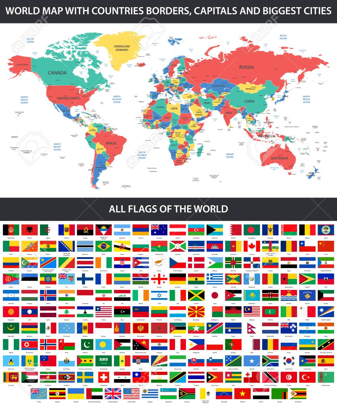 Large Detailed World Map.All Flags Of The World In Alphabetical Order And Detailed World
