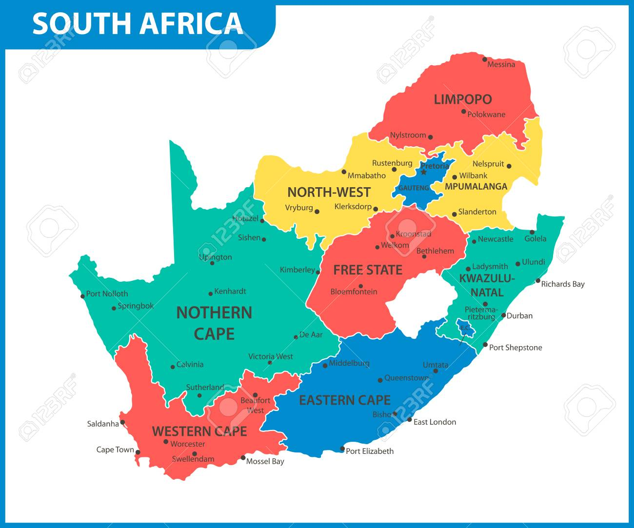 The Detailed Map Of South Africa With Regions Or States And Cities