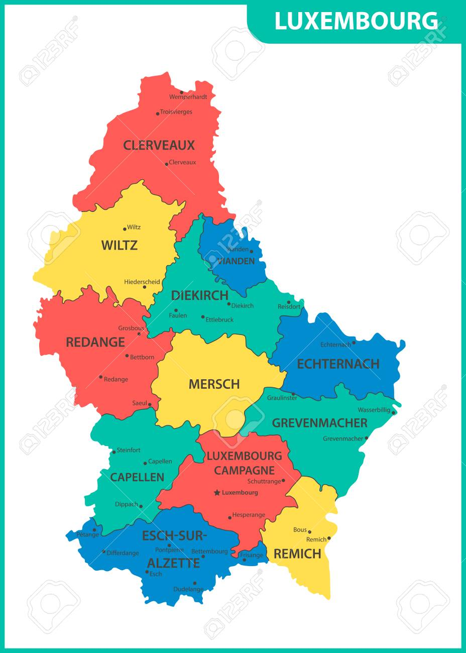 The detailed map of the Luxembourg with regions or states and..