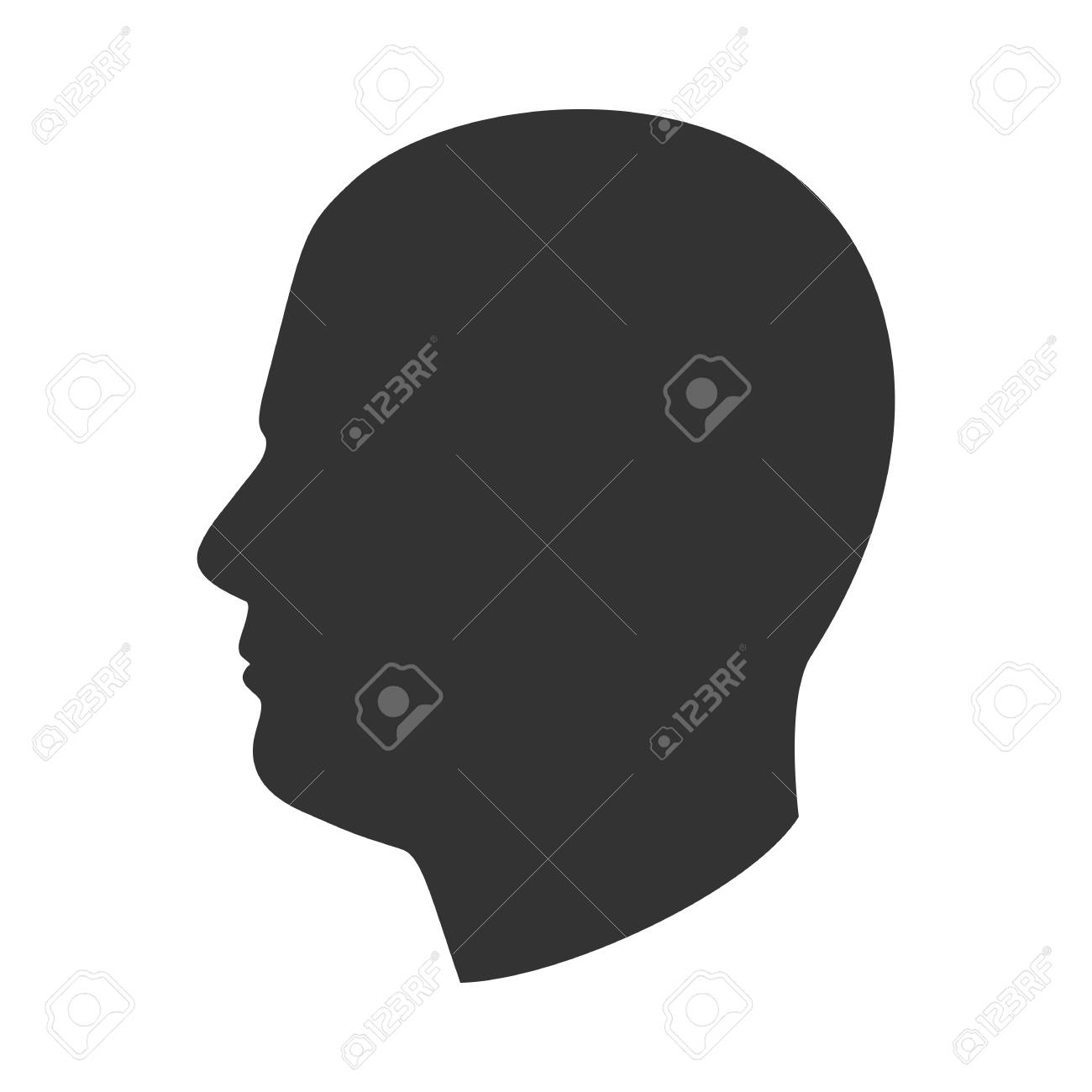 Silhouette of male head, man face in profile, side view - 102232852