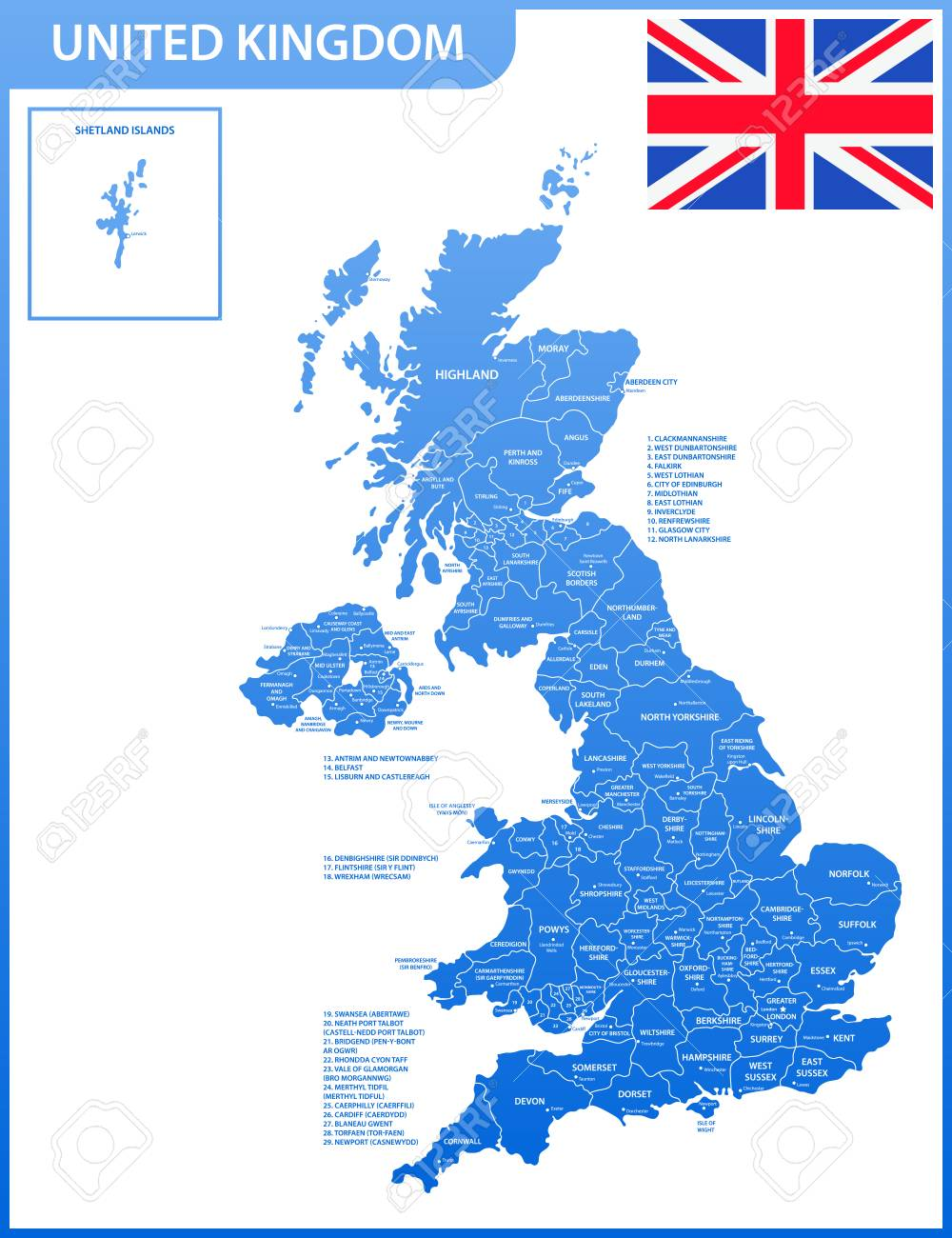 Map Of Uk Detailed.The Detailed Map Of The United Kingdom With Regions Or States