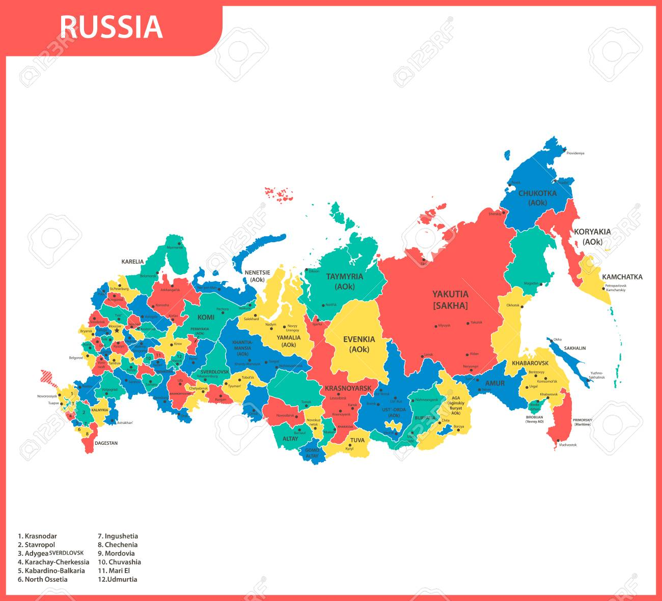 The Detailed Map Of The Russia With Regions Or States And Cities