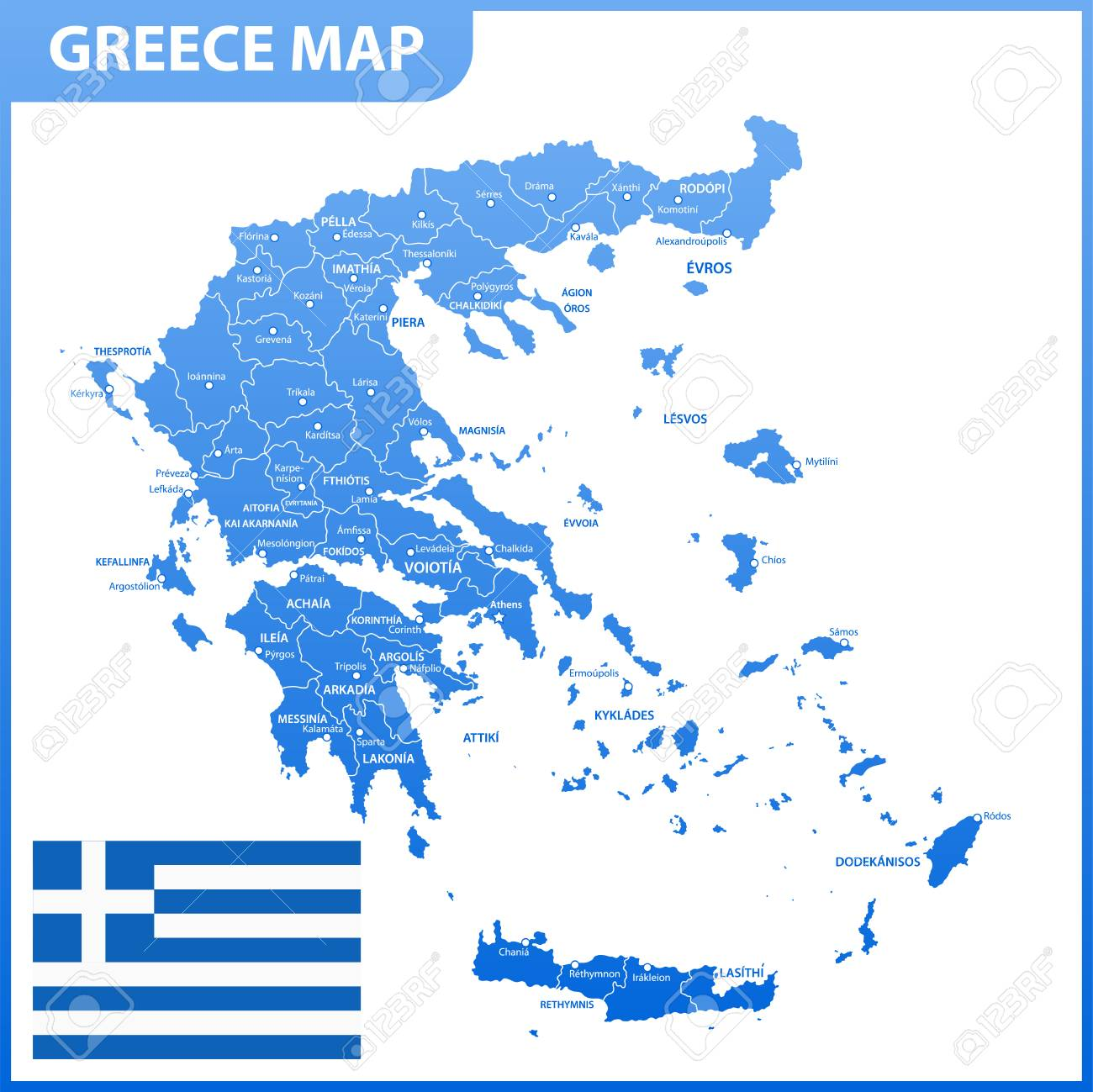 photo regarding Printable Map of Greece known as The thorough map of Greece with parts or suggests and metropolitan areas,..
