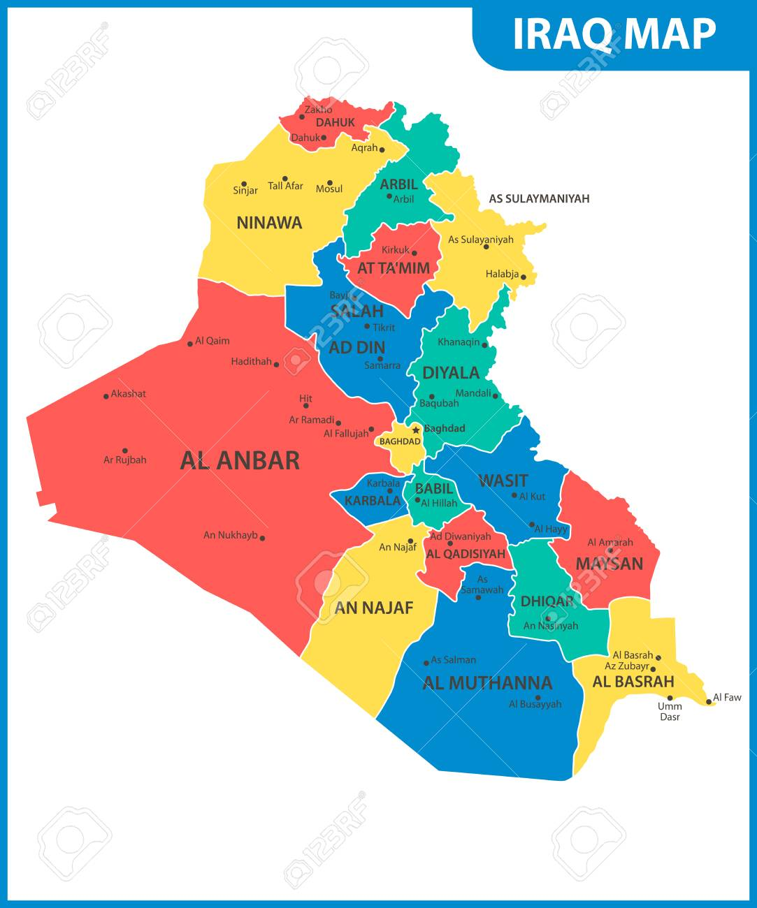The detailed map of Iraq with regions or states and cities, capital...